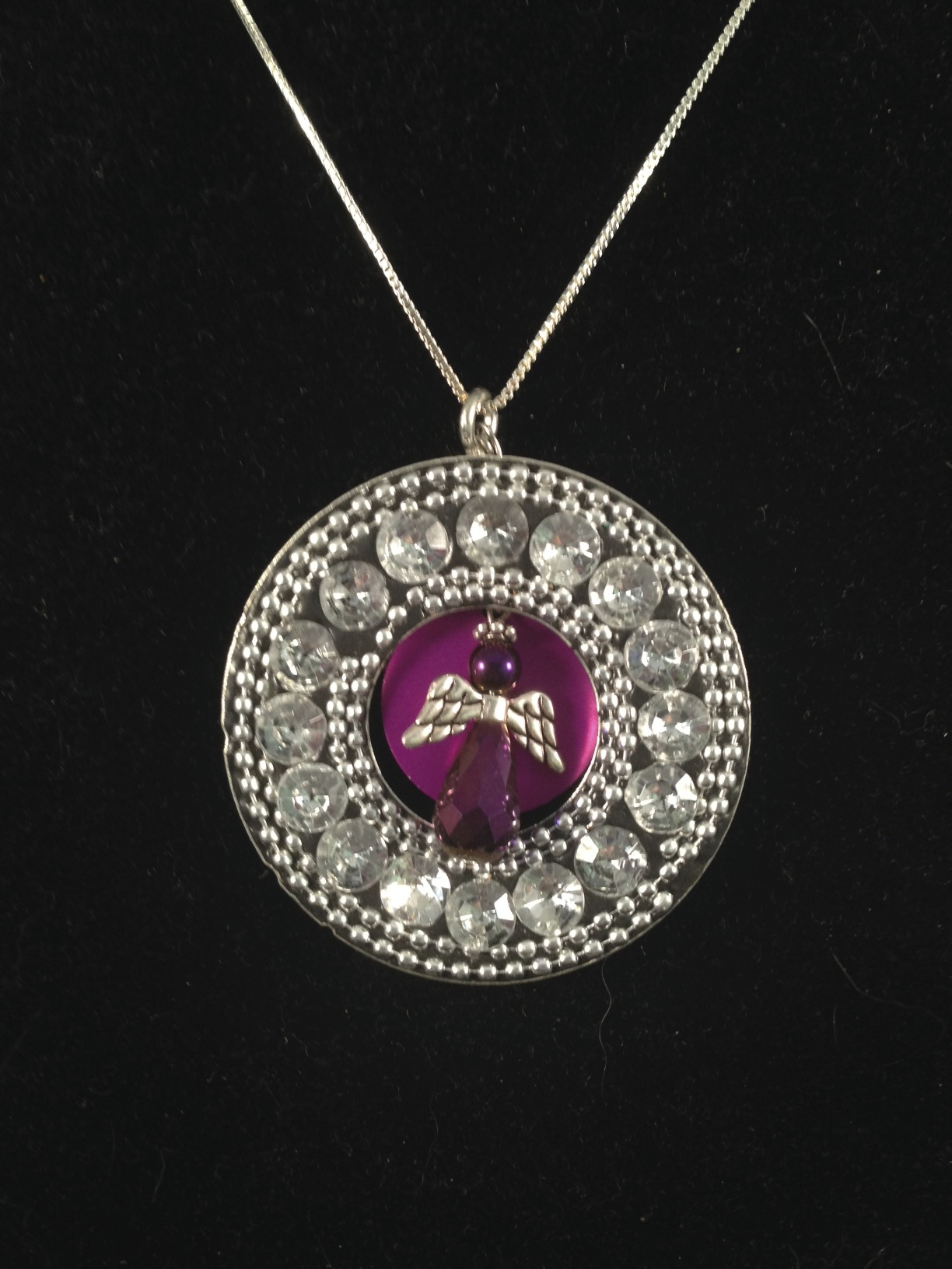Angel w/Big Halo Necklace & Purple Energy Disk