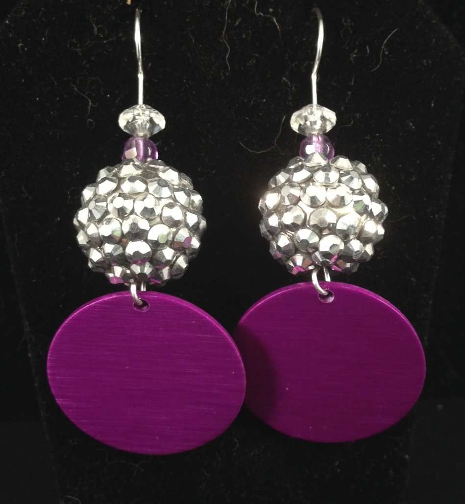 Silver textured bead and Disk earrings