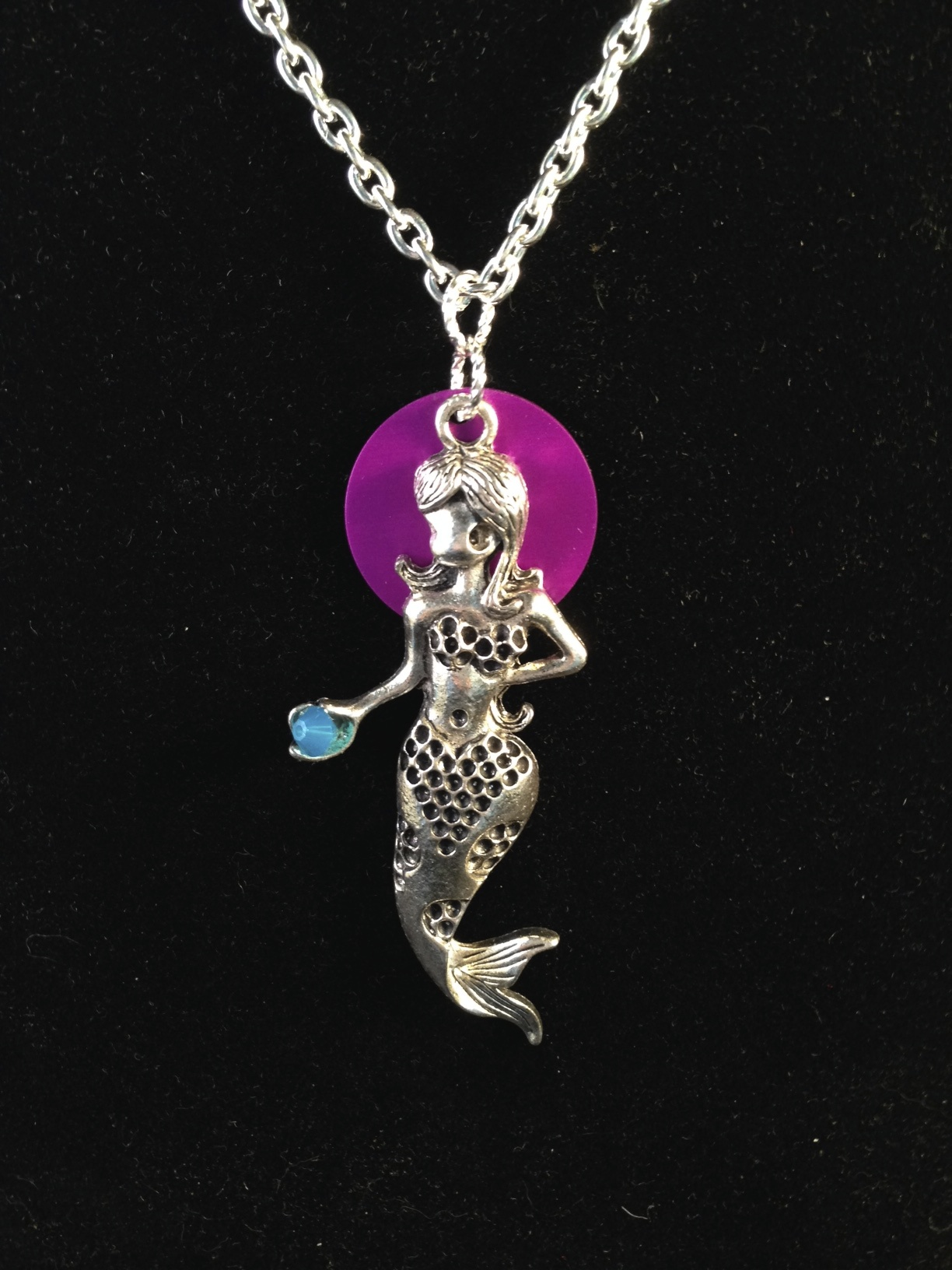 Silver Mermaid with Purple Energy Disk