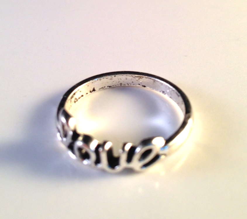"Silver ""Love"" Ring"