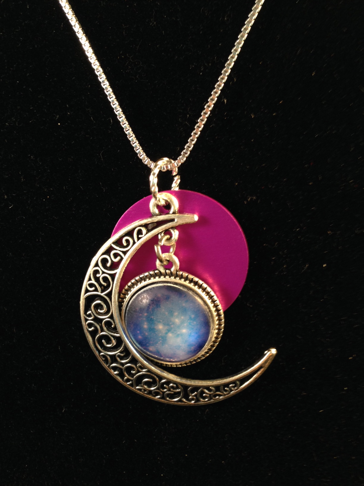 Filagree Crescent Moon/Stars with Purple Disk