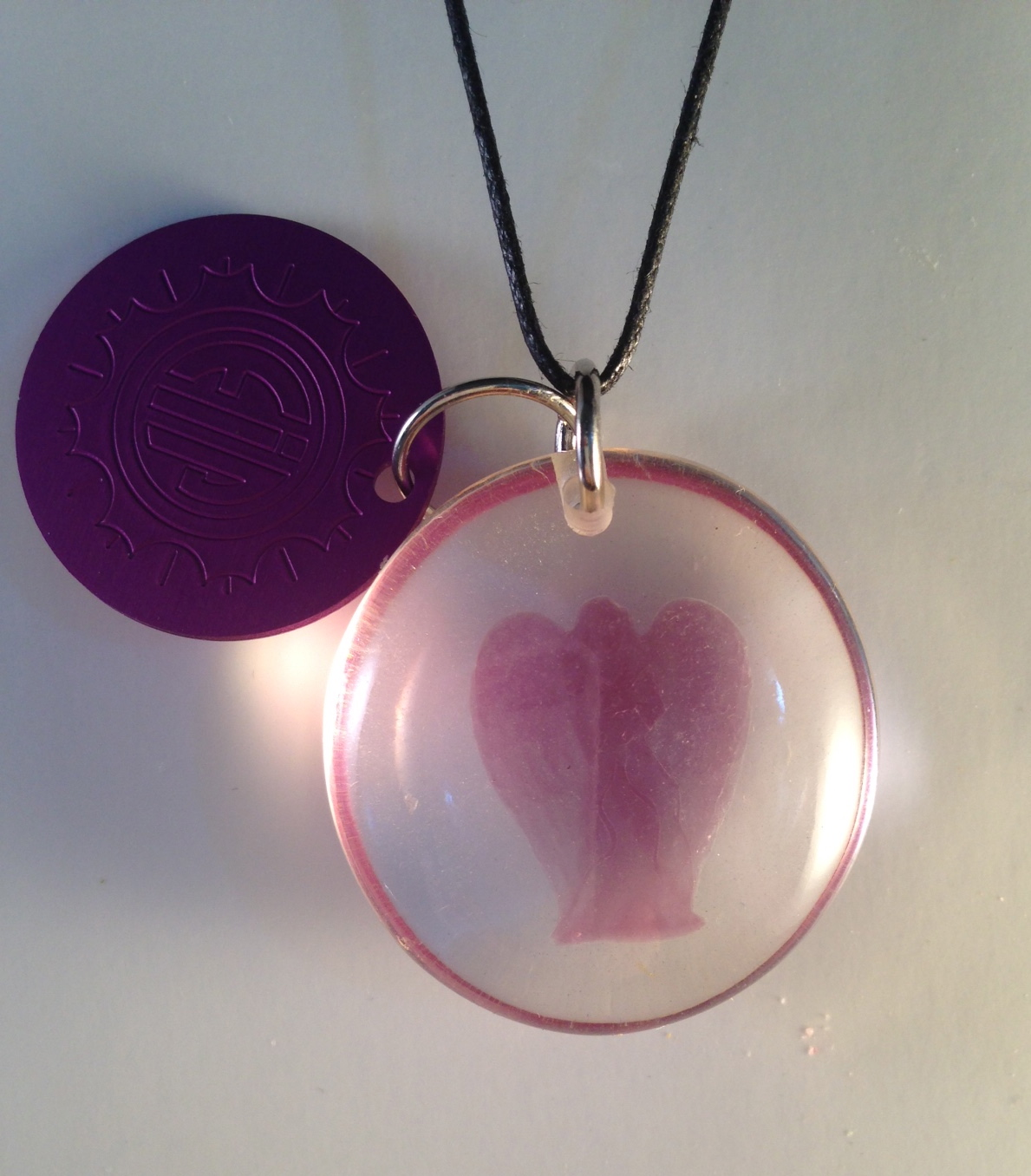 Lavender Lucite Angel with Disk