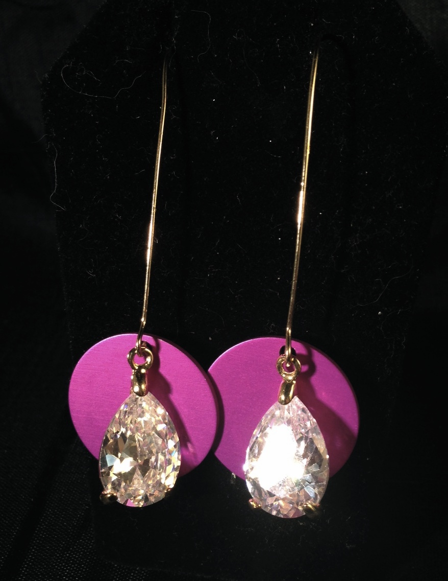 Only One Huge Cubic Zirconia Earrings & Disks