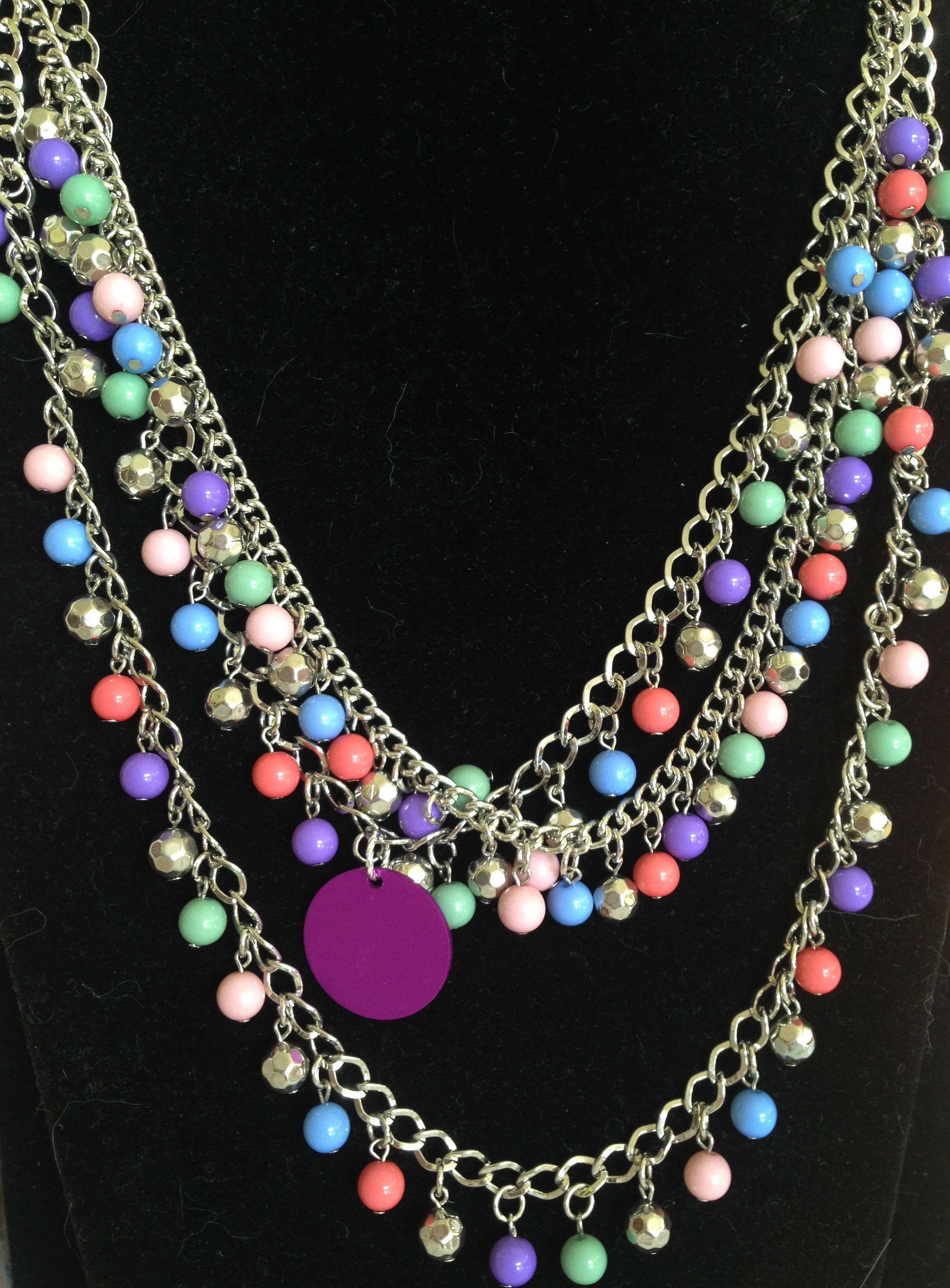 Confetti Bead Necklace with Purple Energy Disk