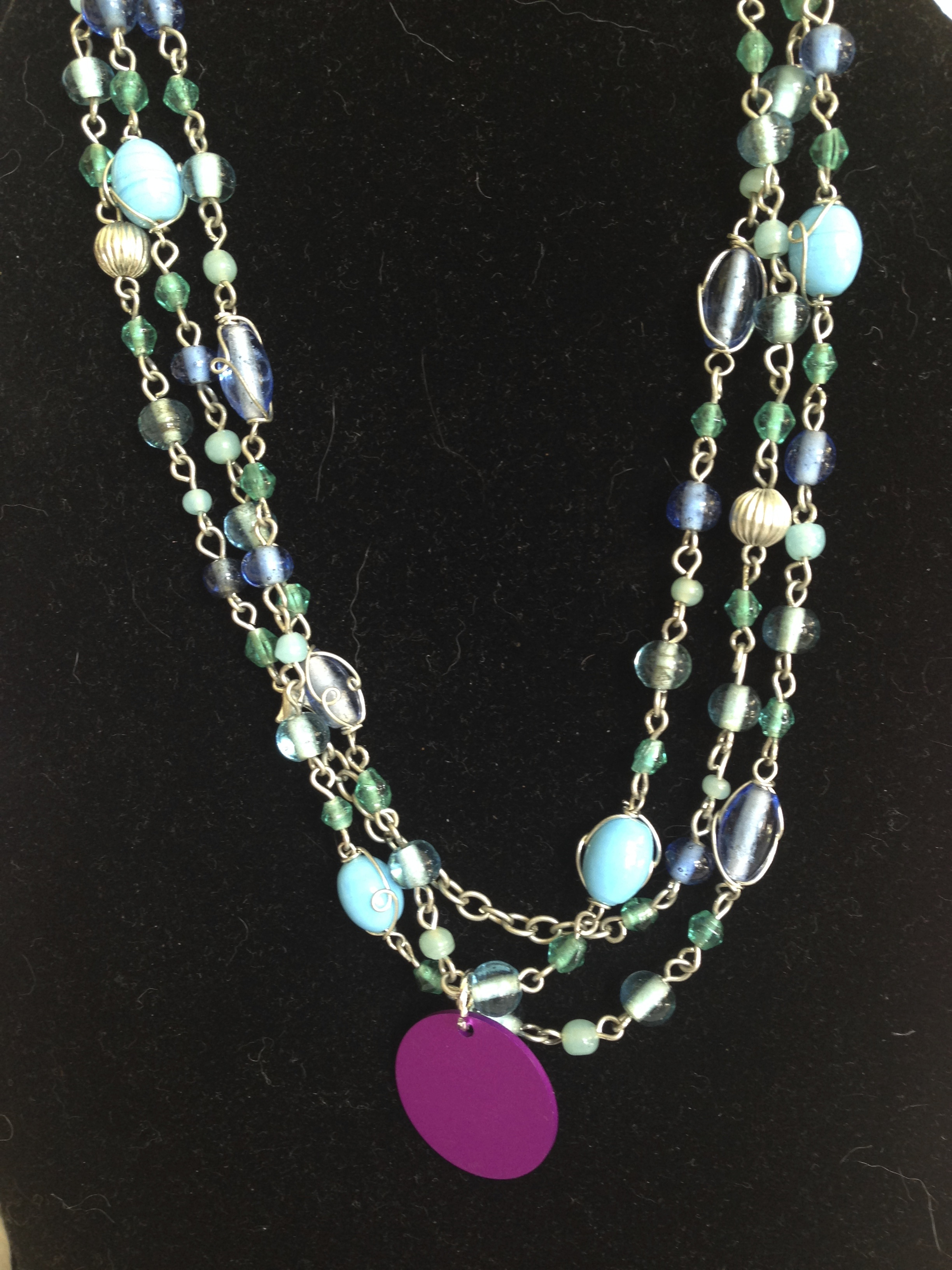 Blue Versatile necklace with Disk