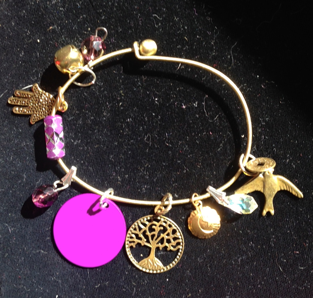 Spiritually Charmed Bangle with Energy Disk