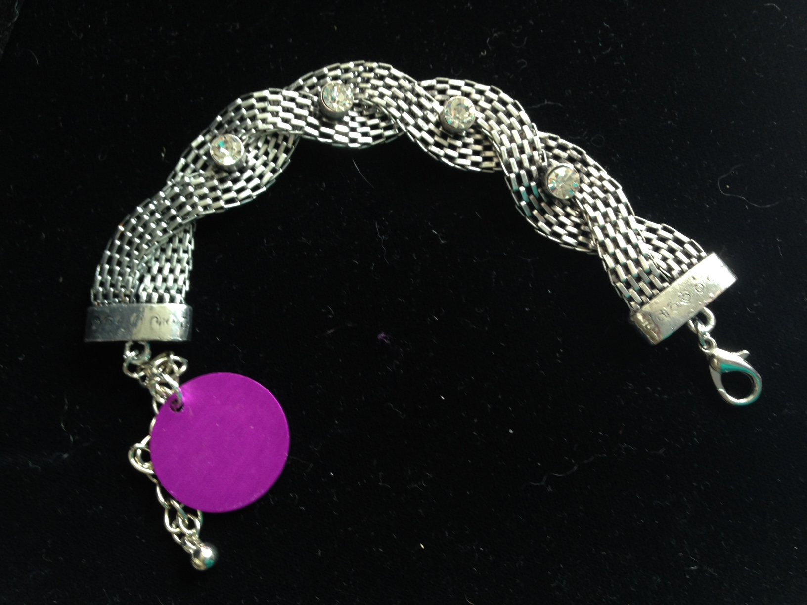 Silver Mesh Studded Chain Bracelet with Purple Energy Disk