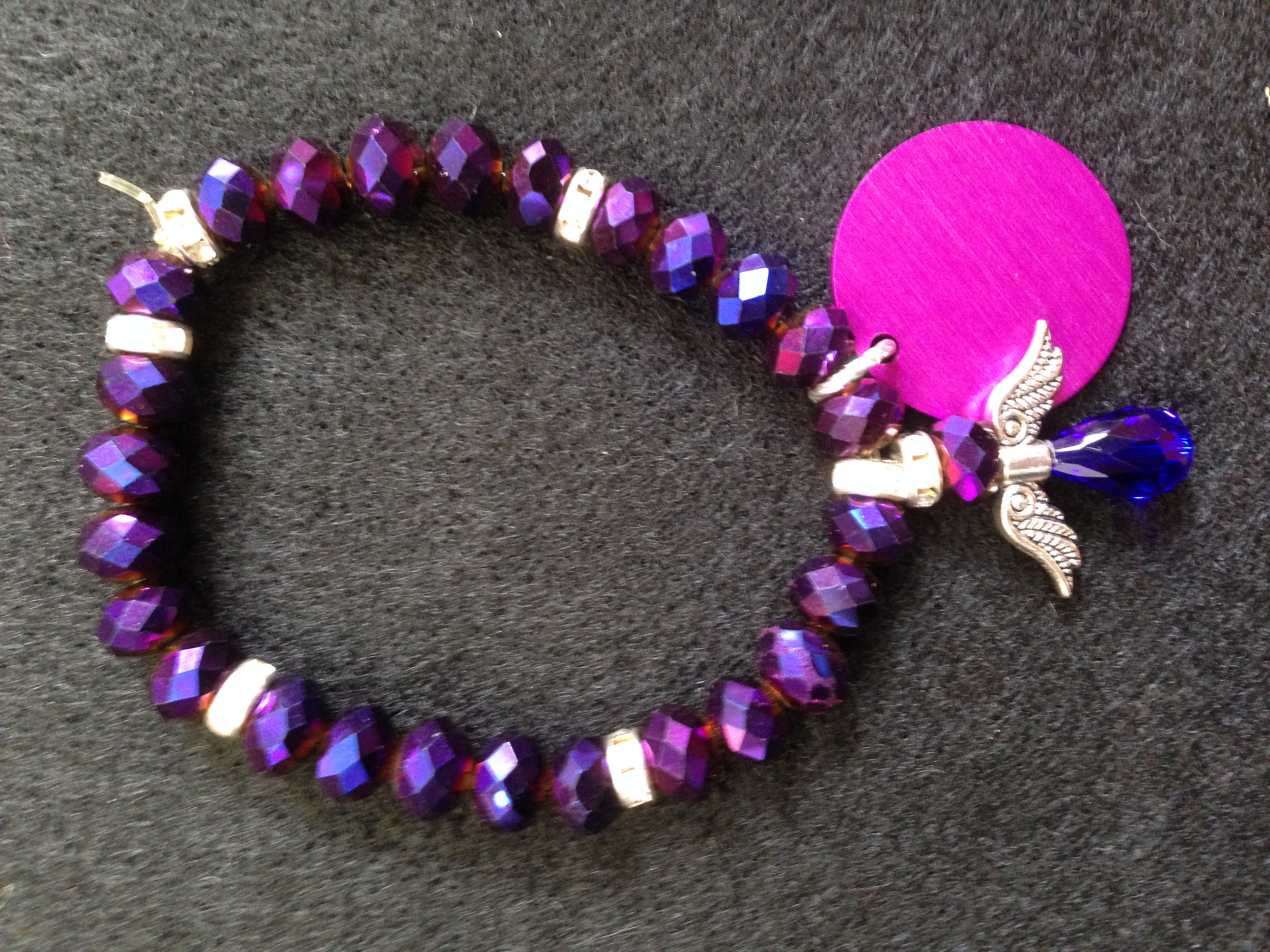 Purple Bead and Angel & Disk Bracelet