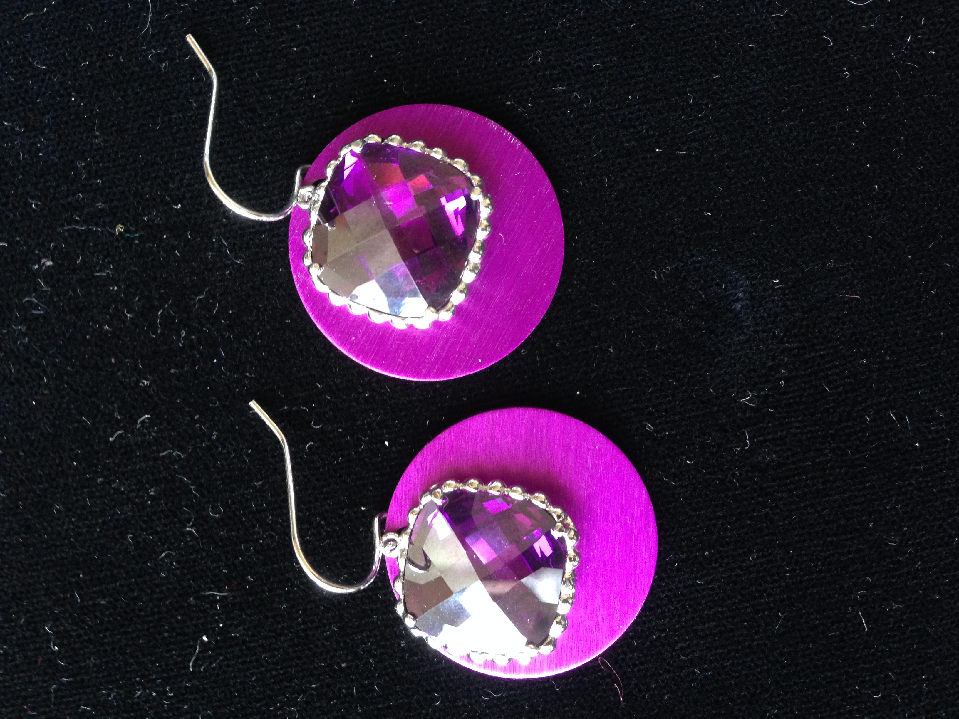 Square Purple Stone Earrings with Disks