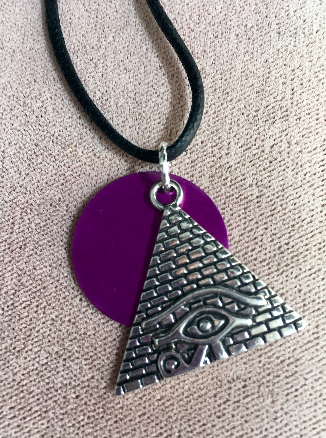 Magic Eye in Pyramid and Purple Energy Disk Necklace