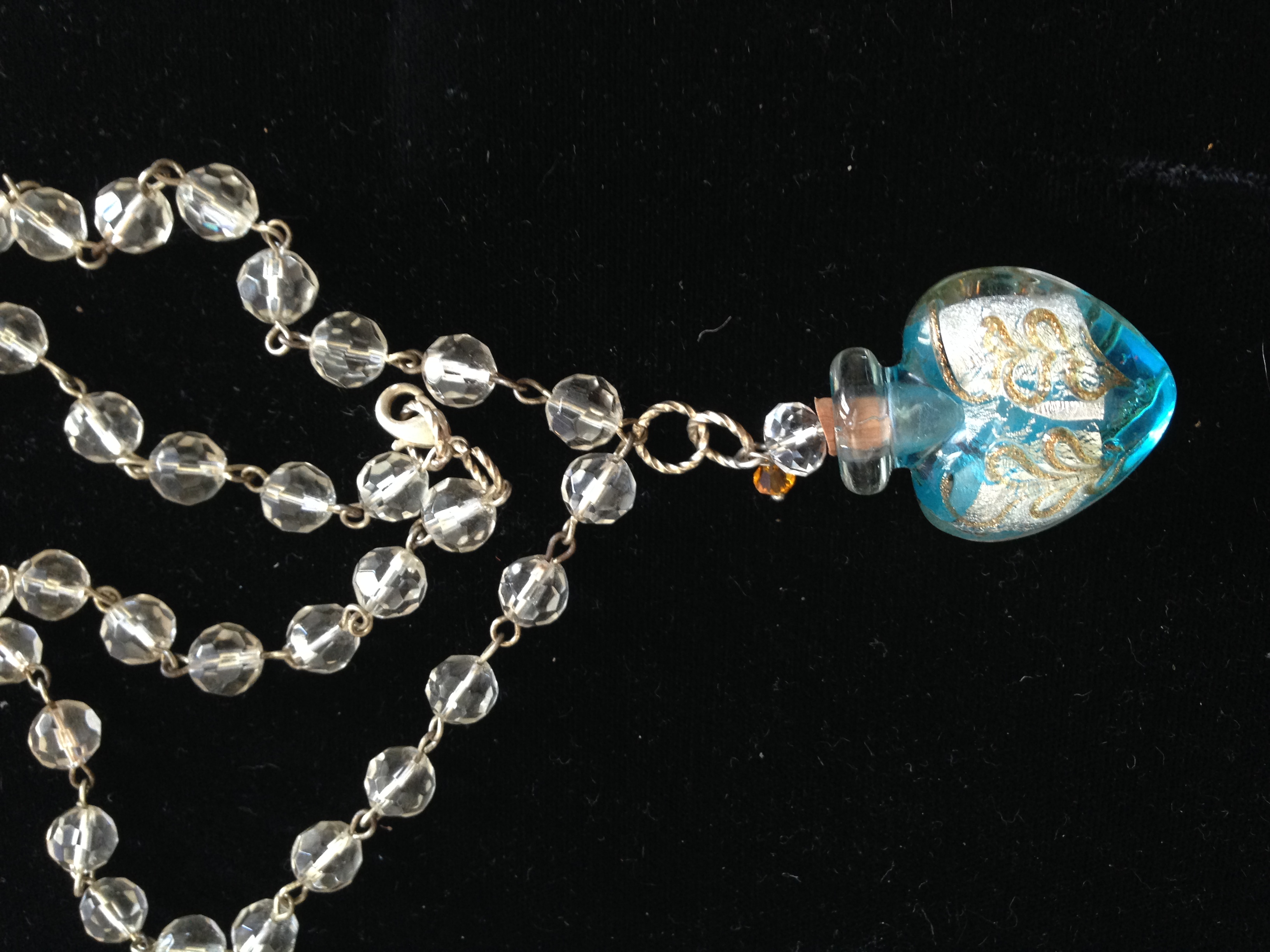 Heart-Shaped Glass Bottle & Crystal Necklace