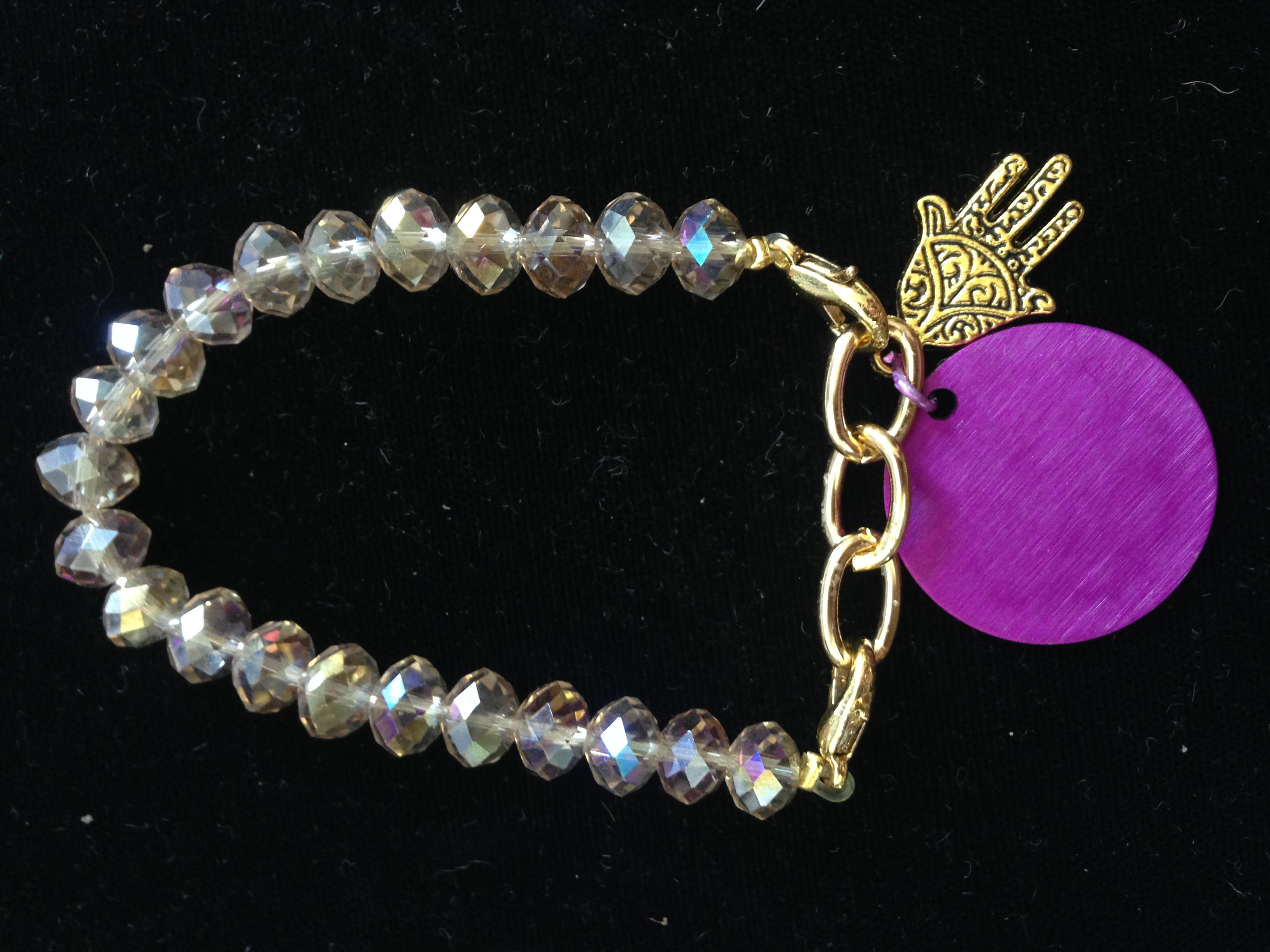 Crystals, Purple Disk and Hand of Miriam Bracelet