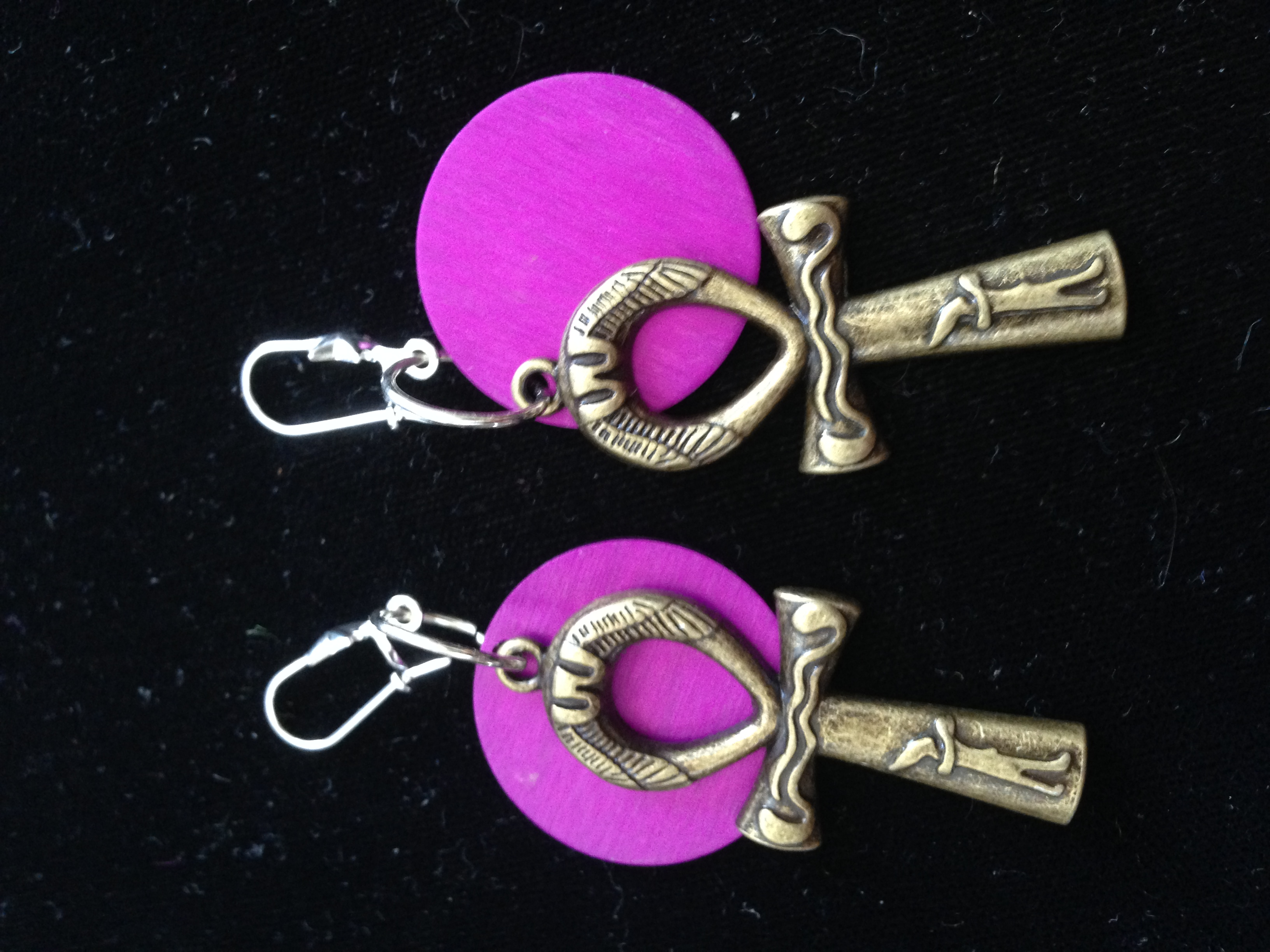 Ankh and Tesla Energy Disk Earrings