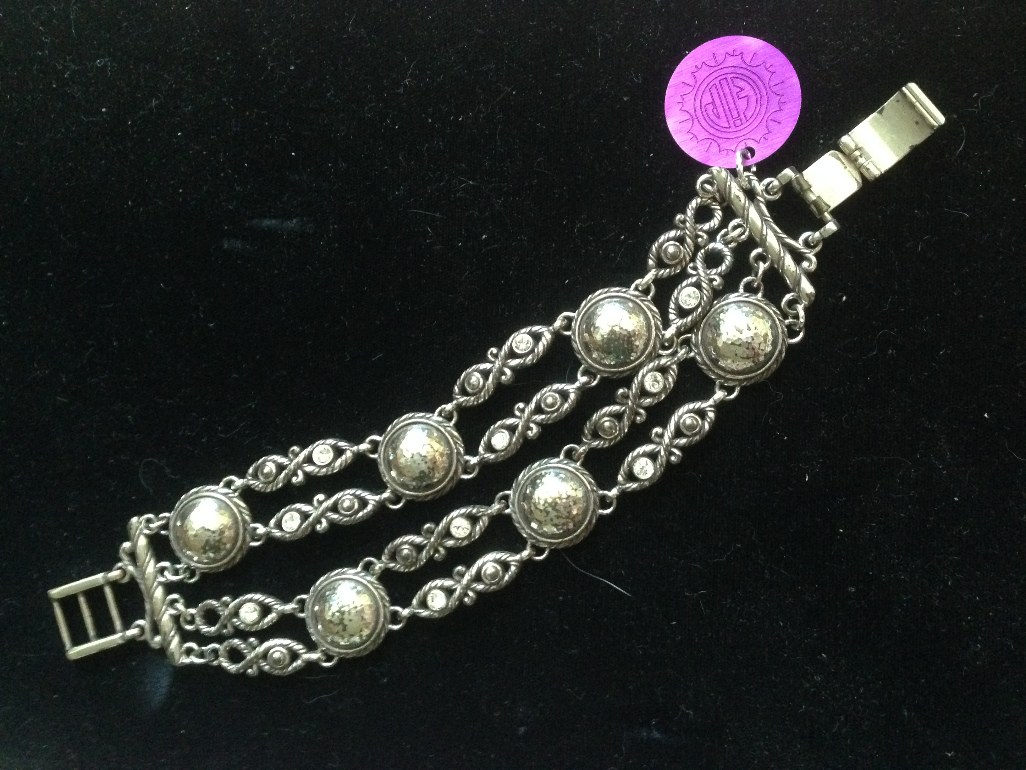 Western Bracelet with Rhinestones & Purple Disk