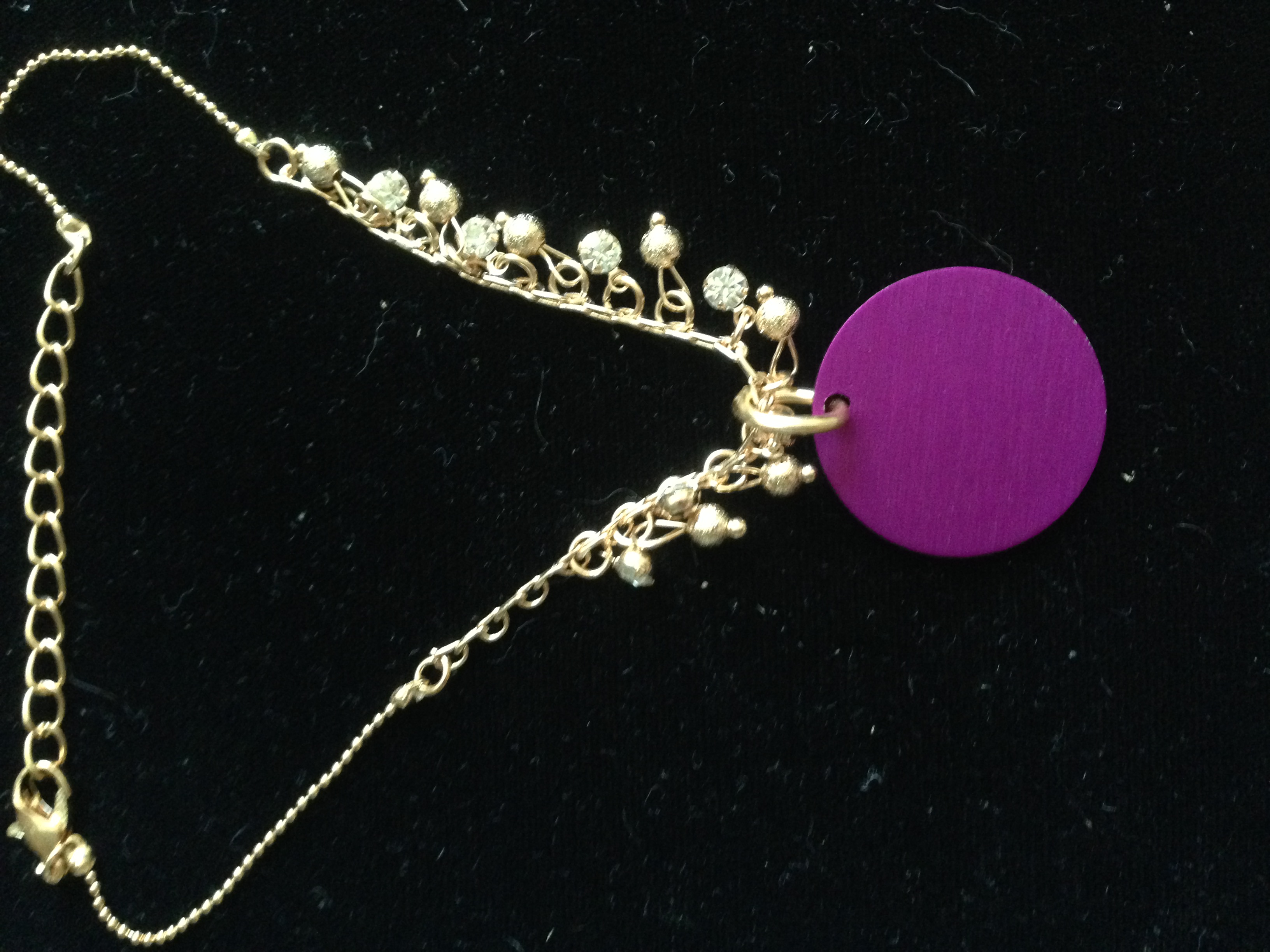 Royal Gold/Rhinestone Anklet/Bracelet w/Purple Disk