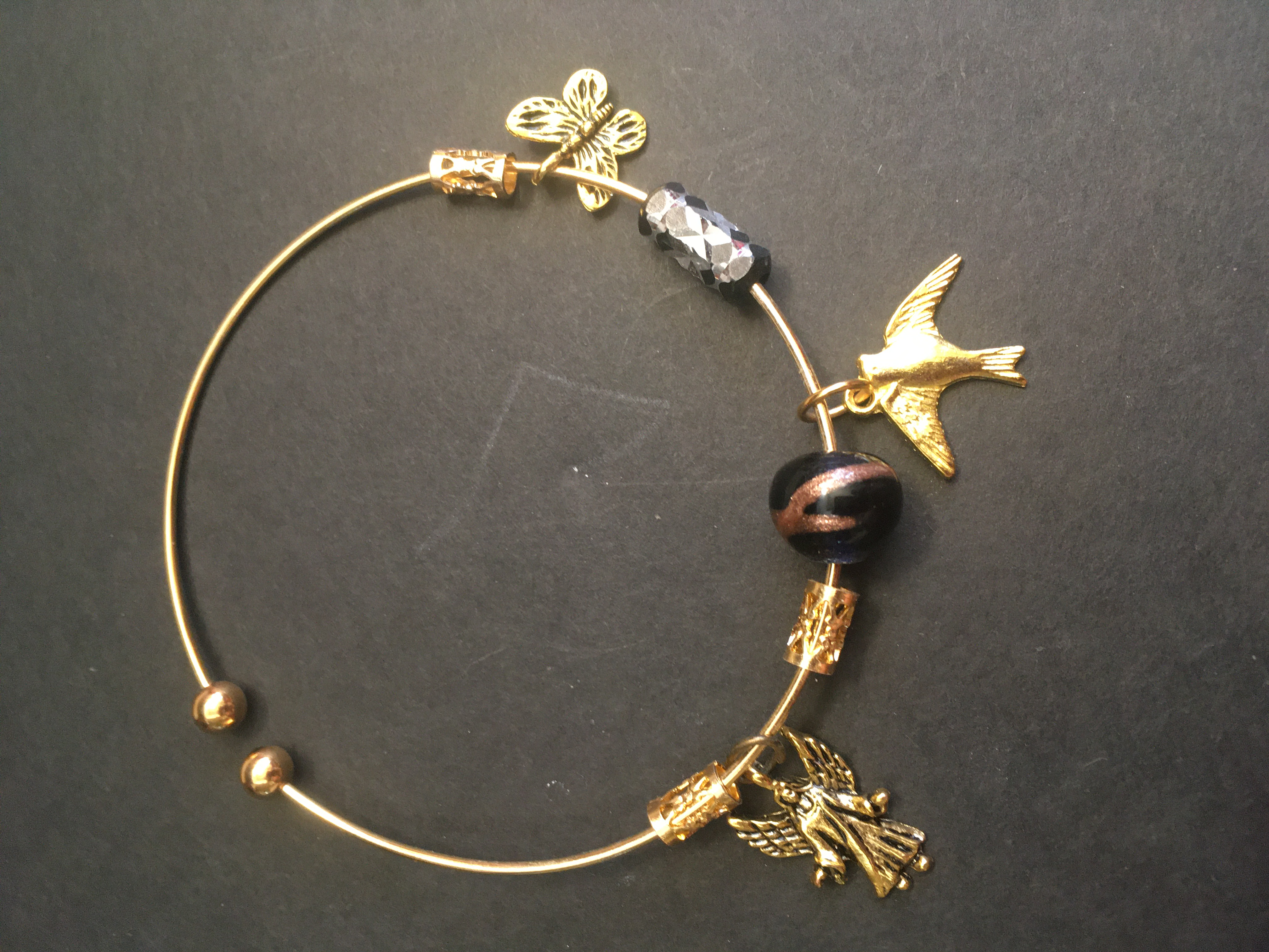 Angel, Dove and Purple Bead Bangle