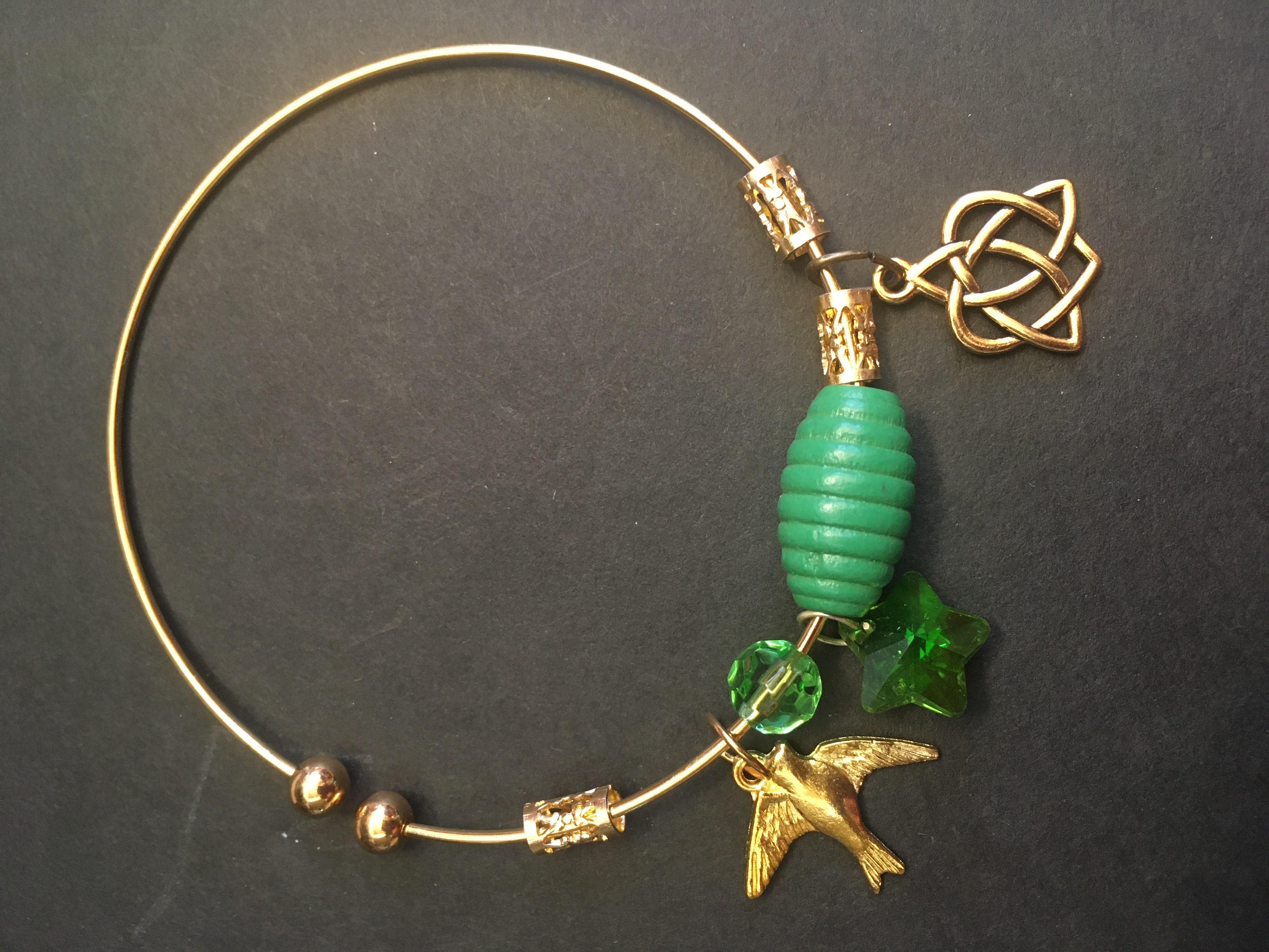 Celtic Symbol and Greens Treasure Bangle