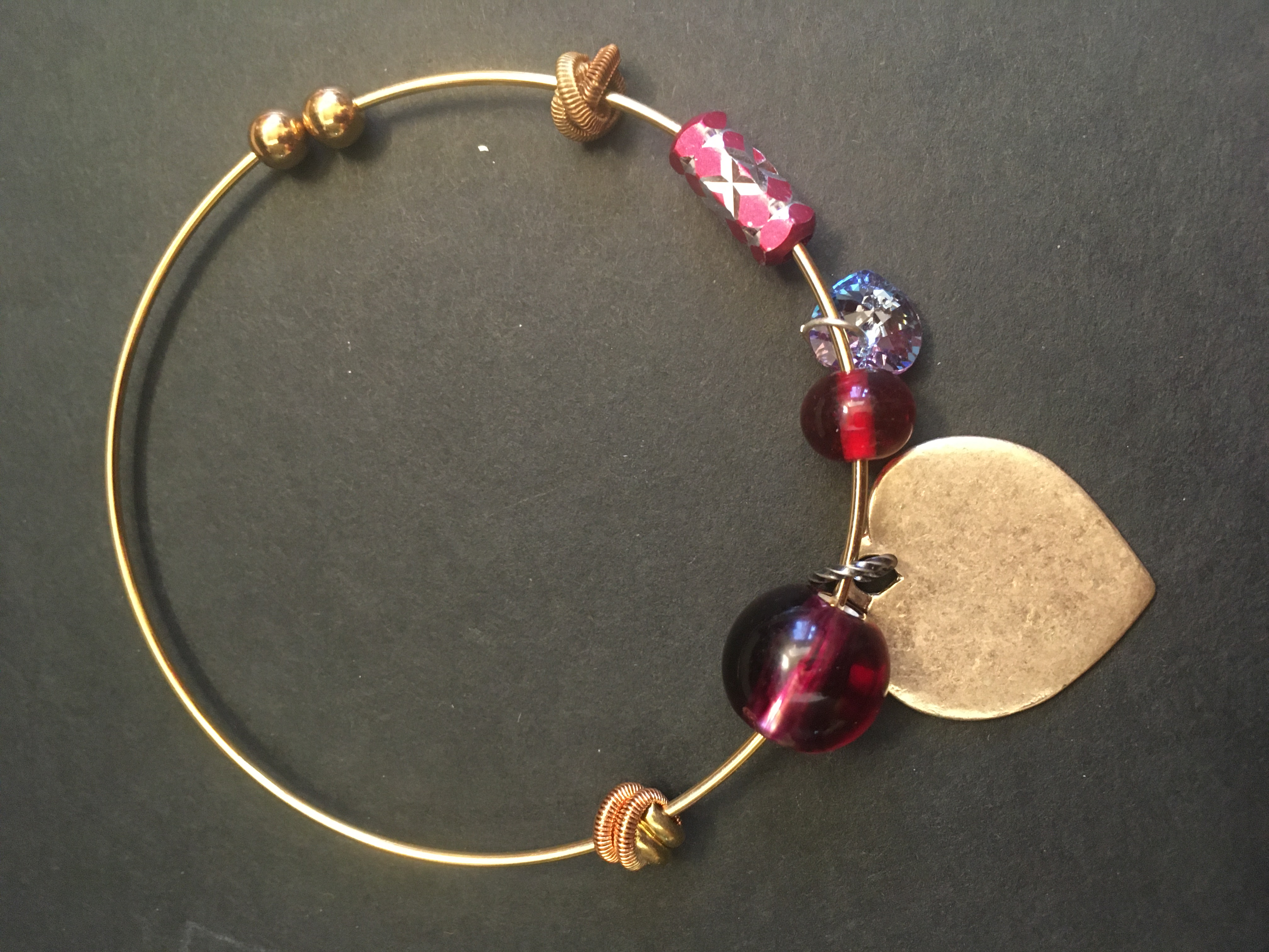 Red Beads and Hearts Treasure Bangle