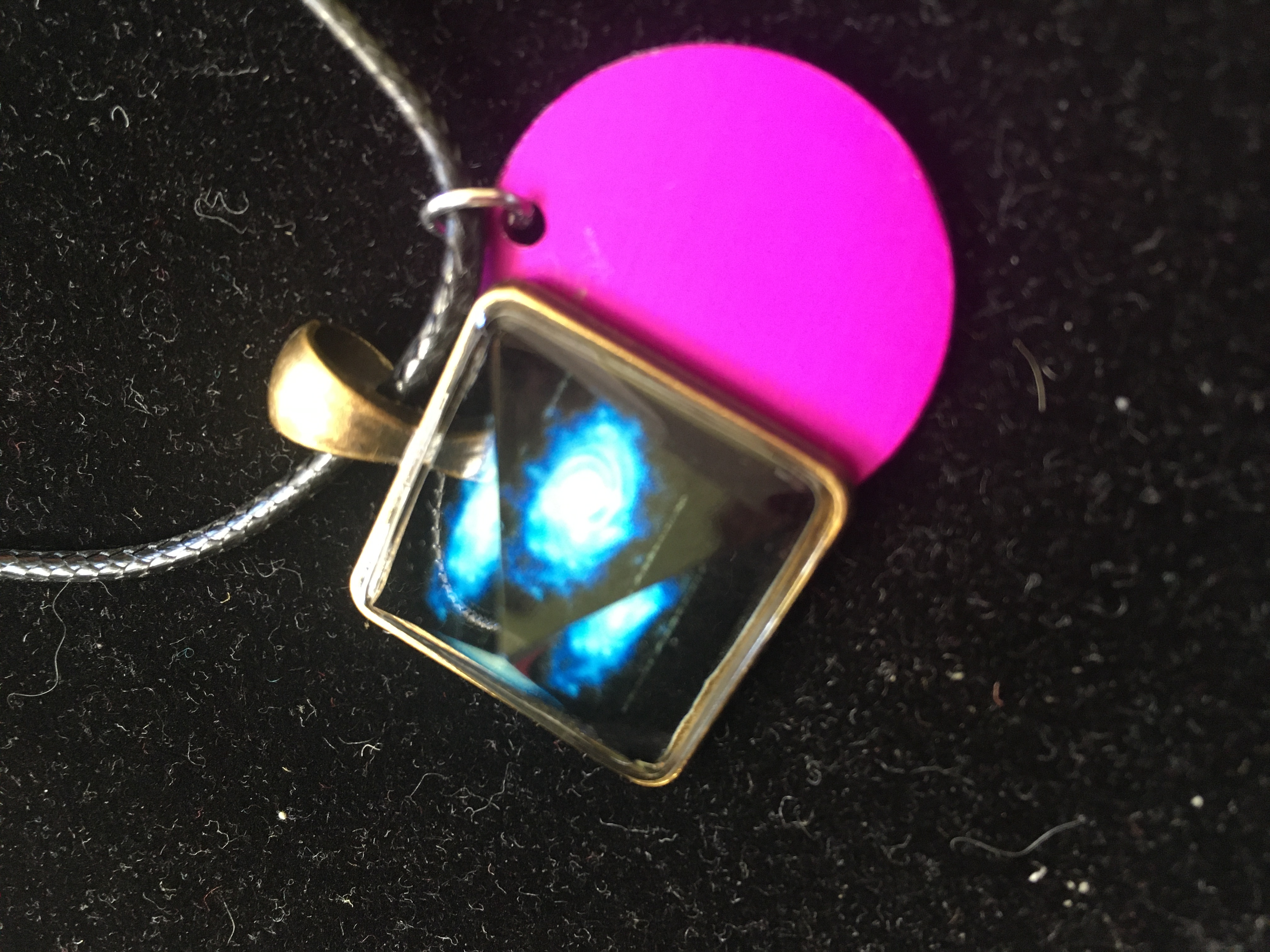 One-Inch Glass Pyramid Pendant with Purple Disk