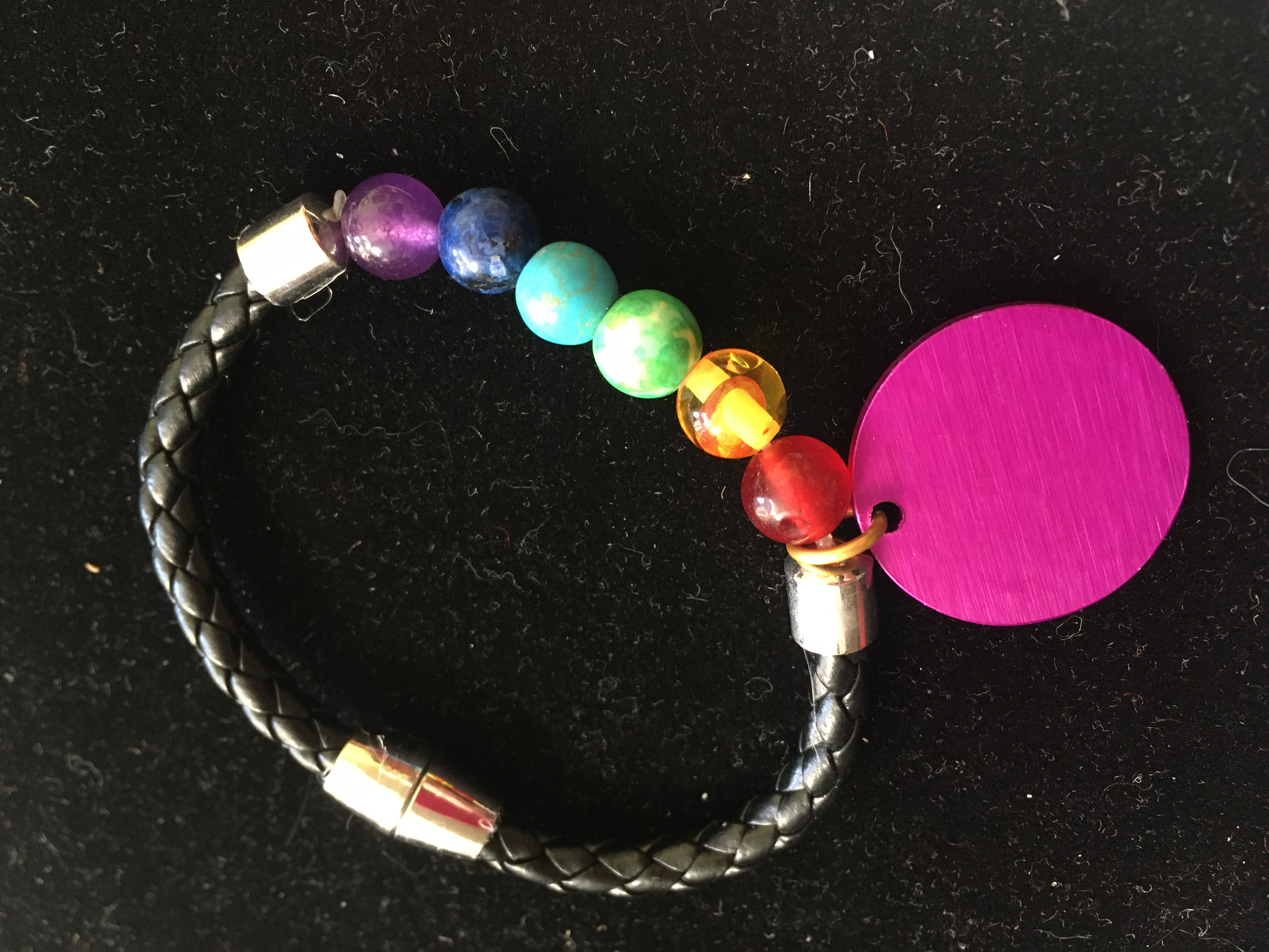 6-Stone Bracelet w/Energy Disk & Magnetic Clasp