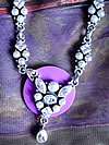 "Disk w/ Lavender faux pearls with clear crystals, on a 16 "" sterling silver necklace"