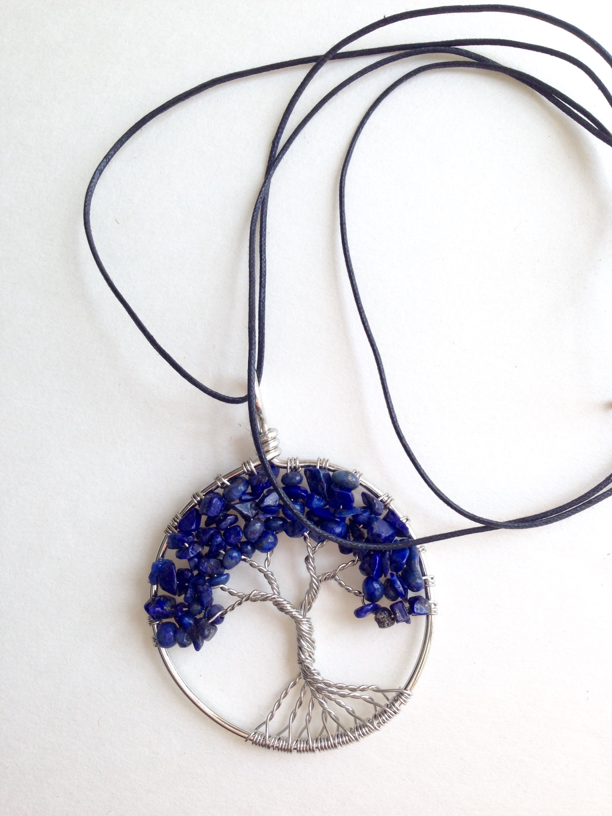 Lapis Lazuli Tree of Life with Energy Disk Necklace