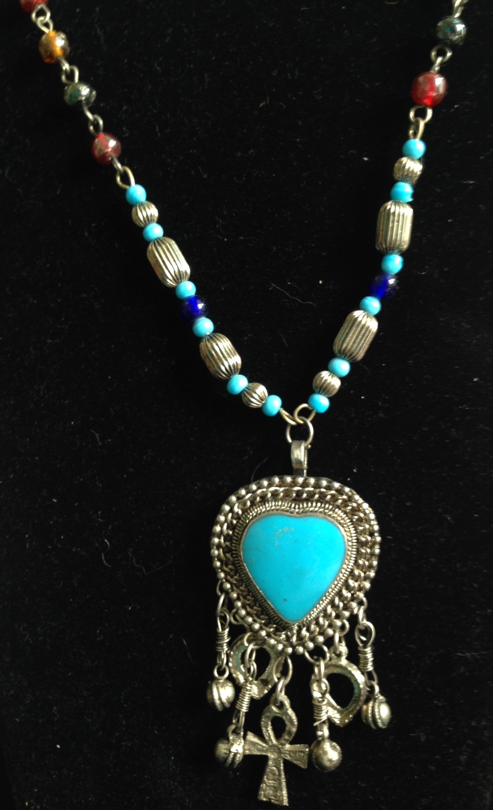 Turquoise Enamel Heart Beaded Necklace