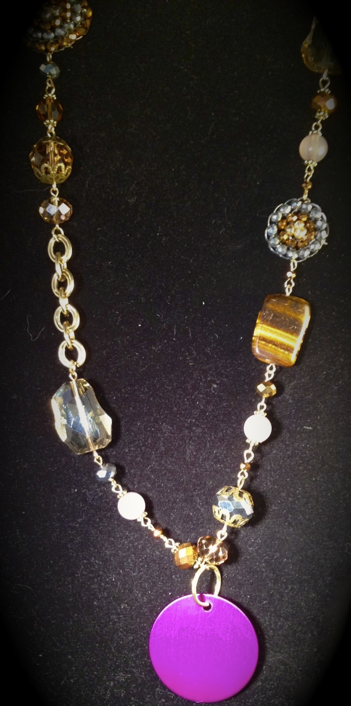 Chunky Necklace with Mixed Crystal and Disk