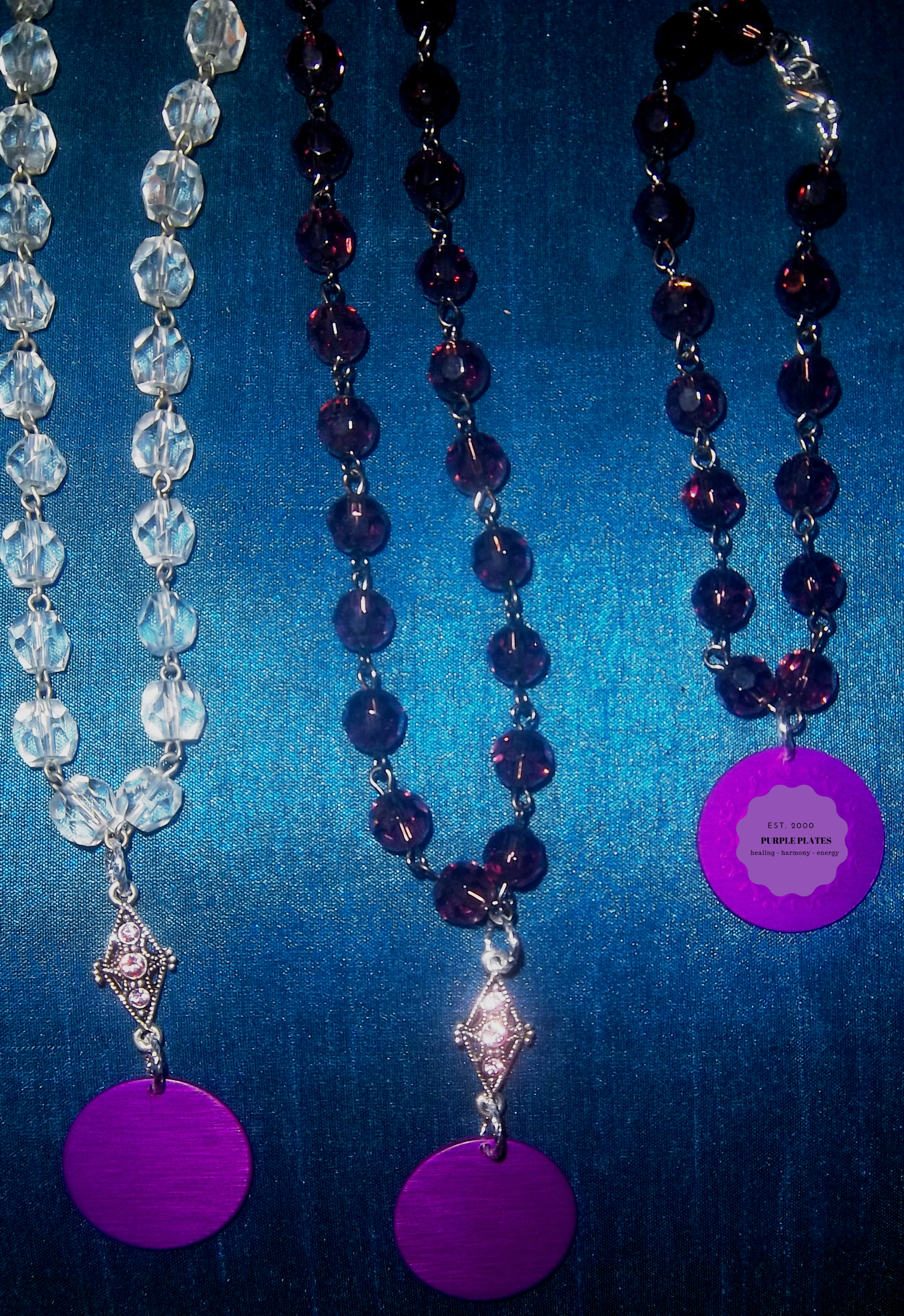 Purple Energy Disk Crystal Necklace