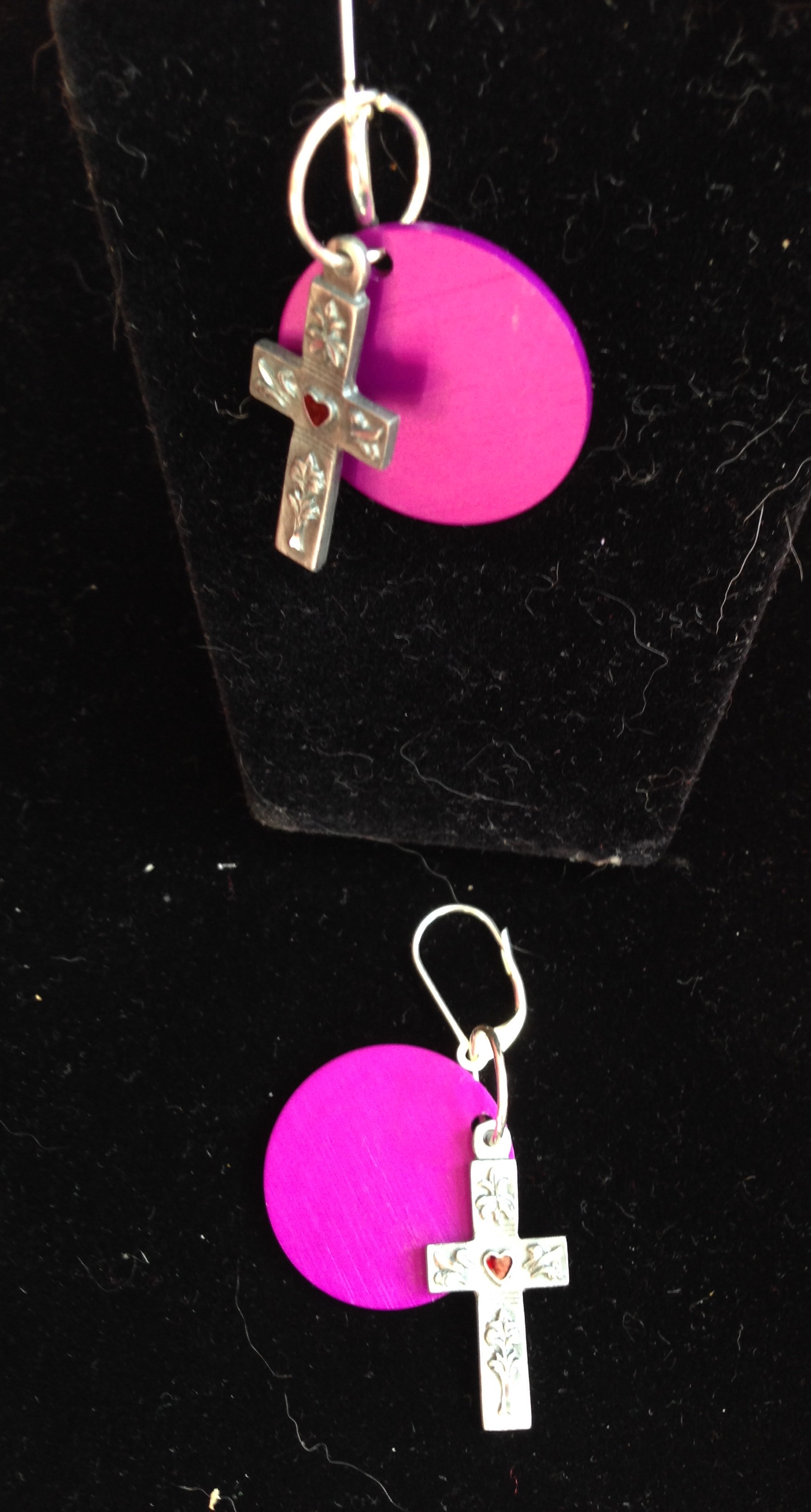 Sacred Cross Earrings with Energy Disks