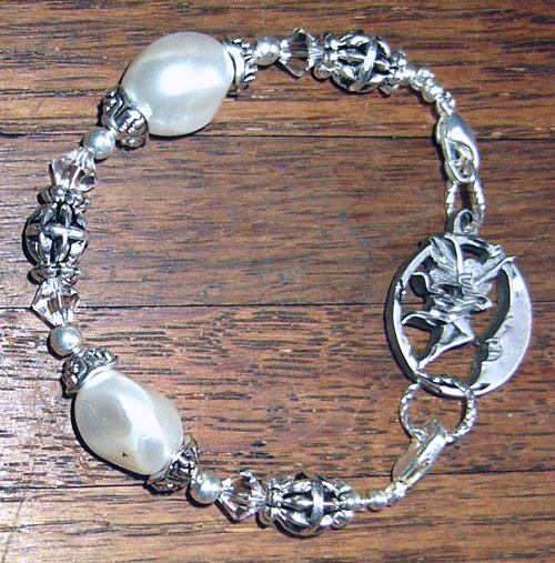 FAIRY FULL MOON on pearl & Swarovski crystal bracelet