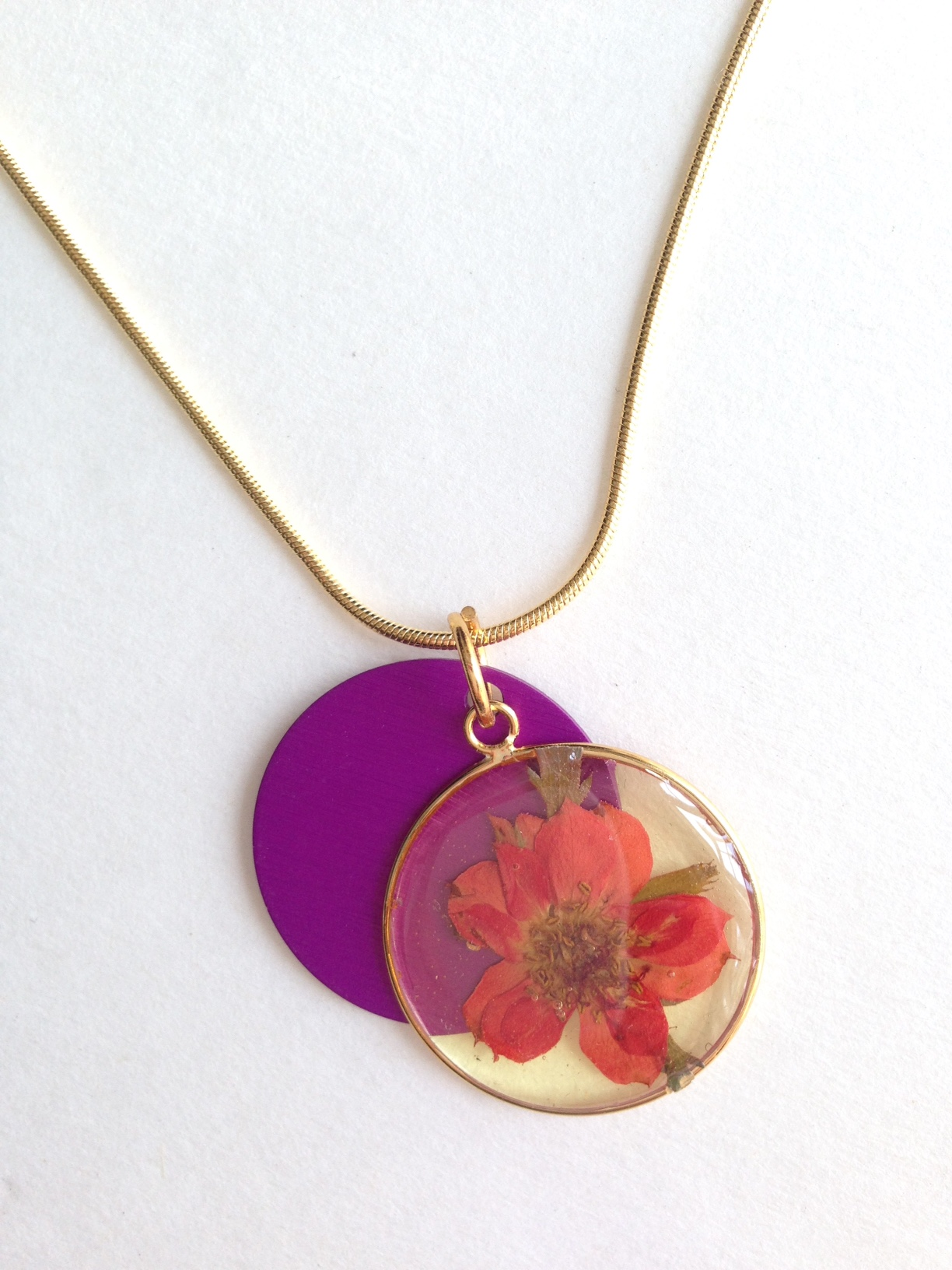 Pressed Flower with Purple Energy Disk Pendant