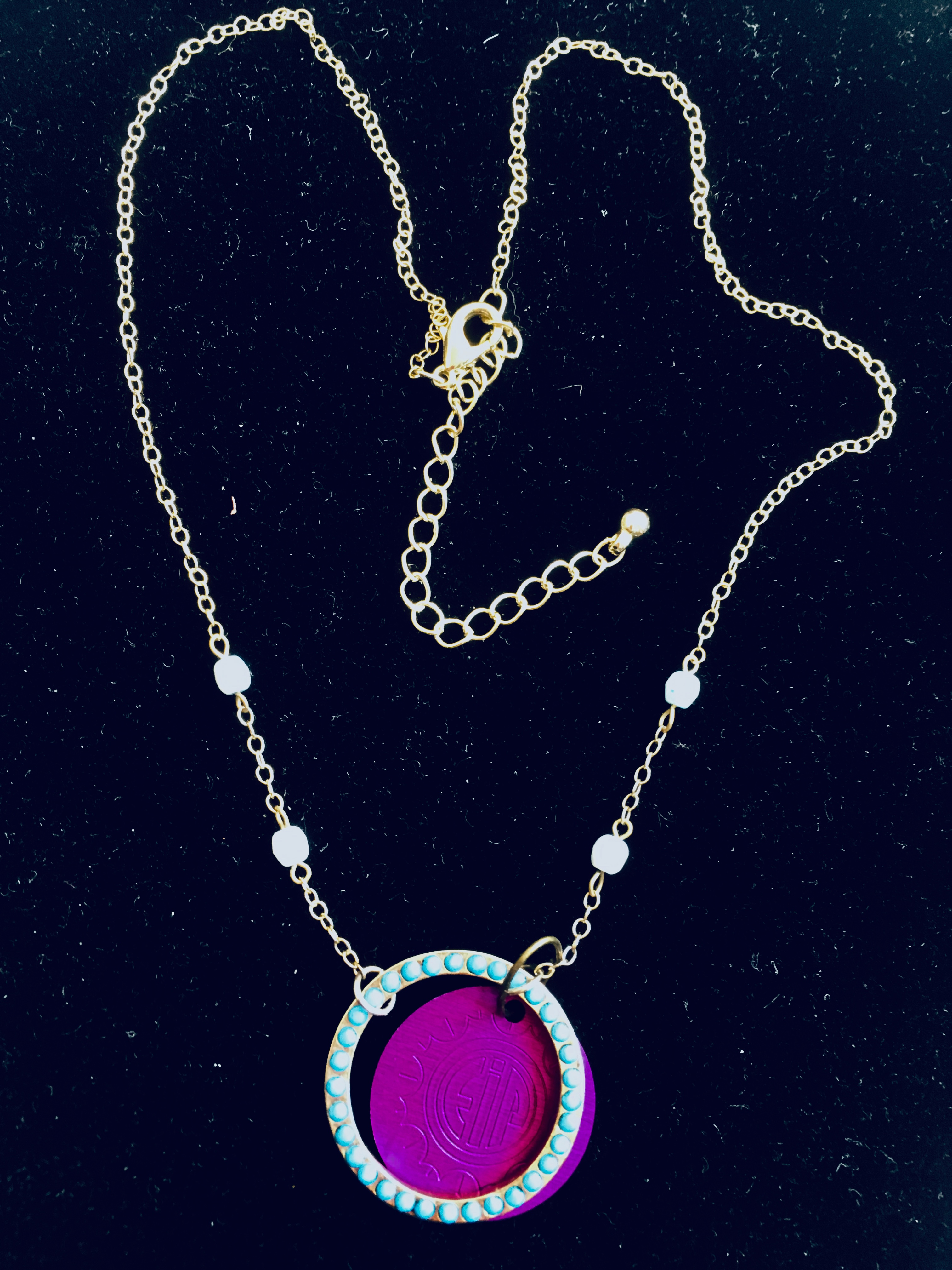 Circle of Turquoise and Purple Disk Necklace