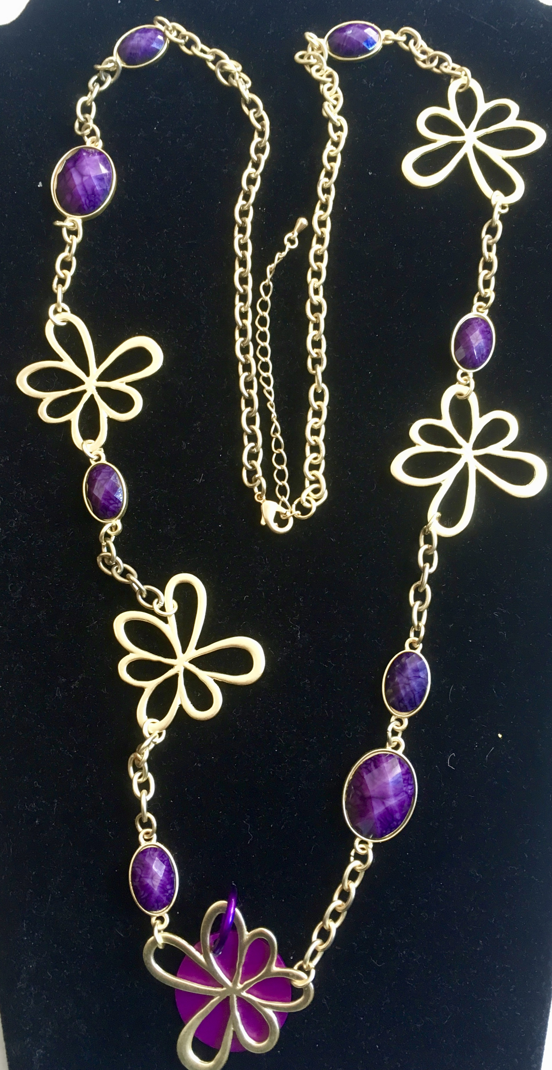 SALE: Golden Flowers Long Golden Necklace with Energy Disk