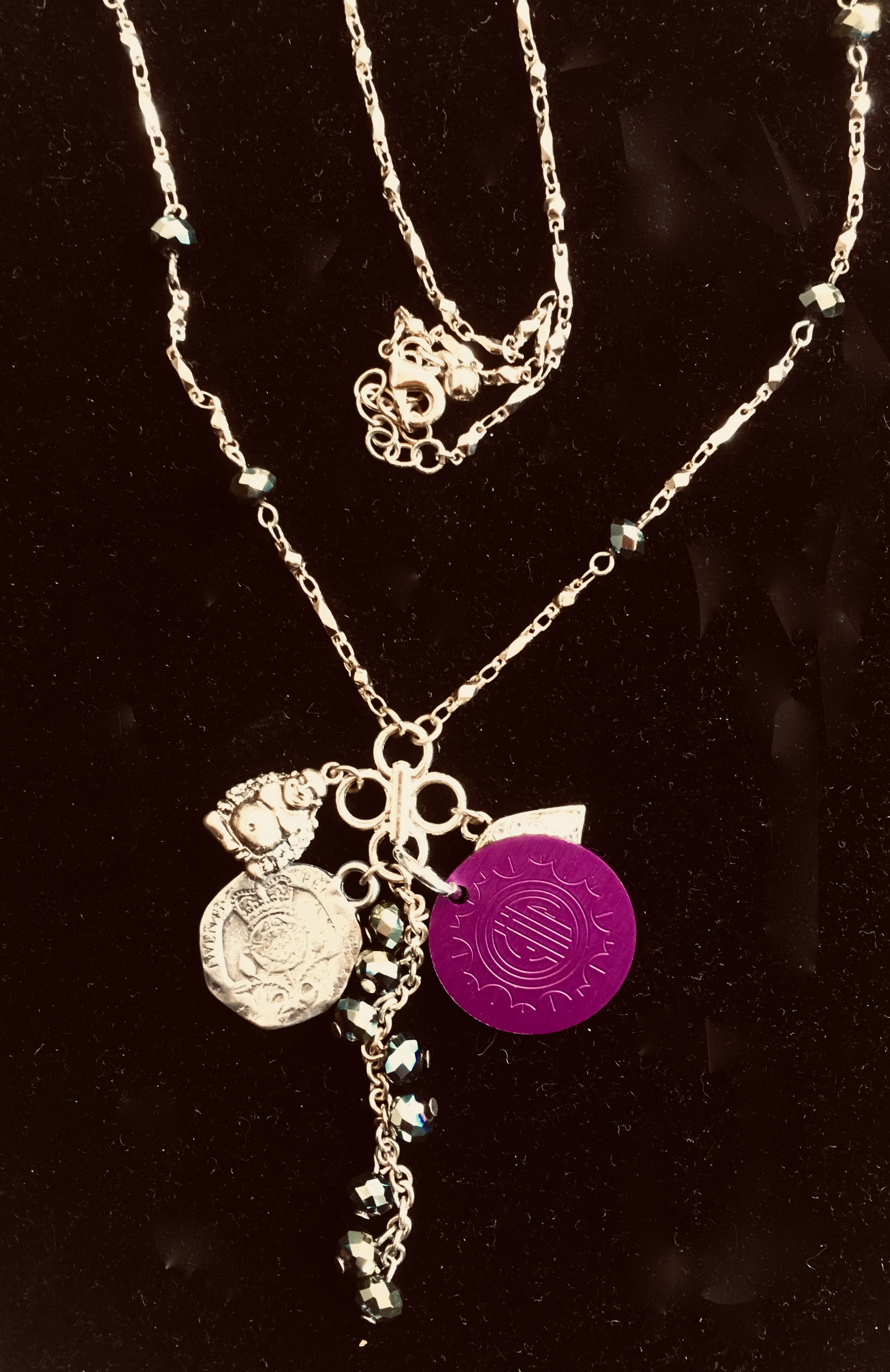 Spiritual symbols Charm Necklace with Purple Disk