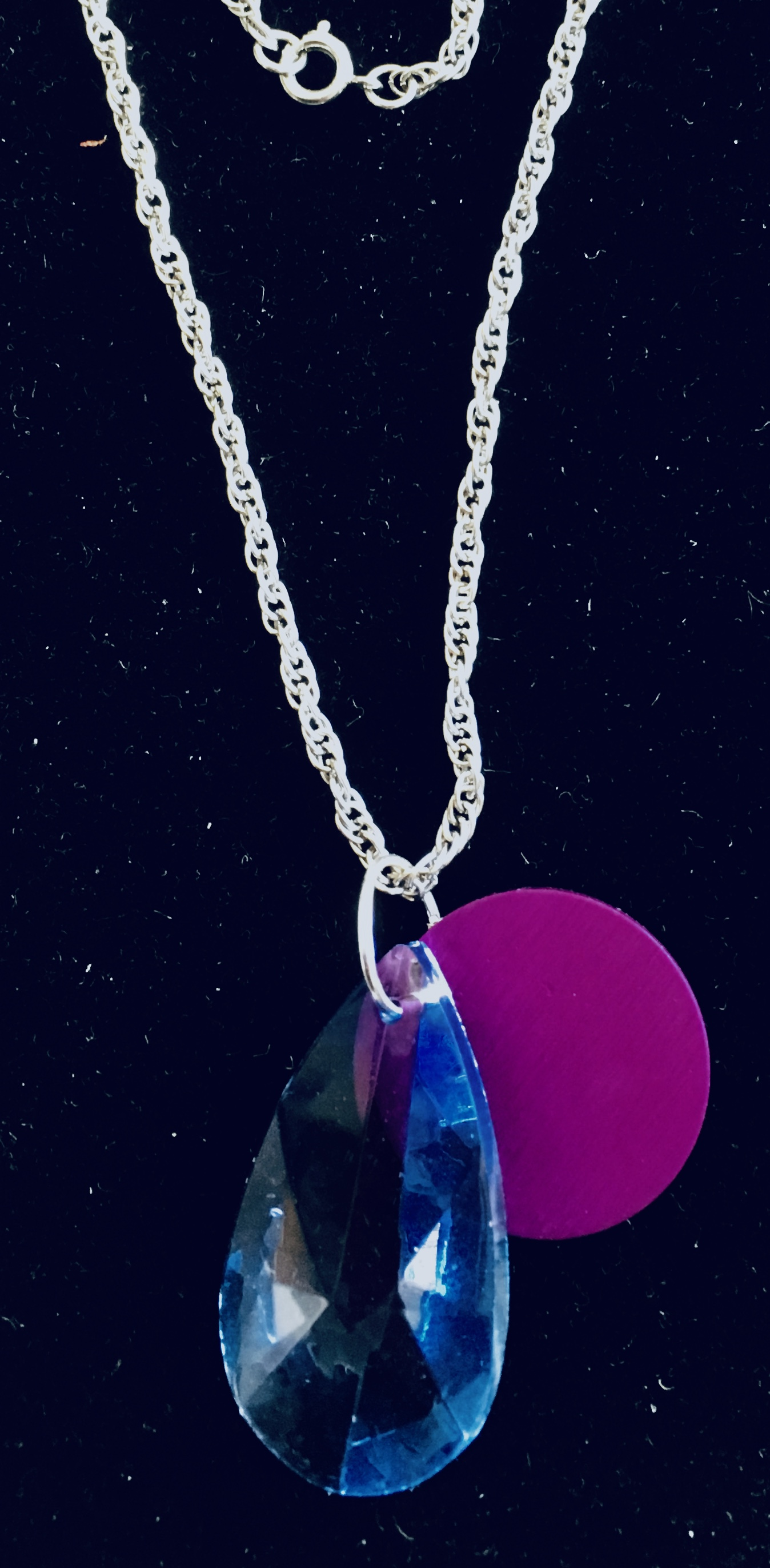 Blue Teardrop Crystal with Purple Energy Disk Necklace