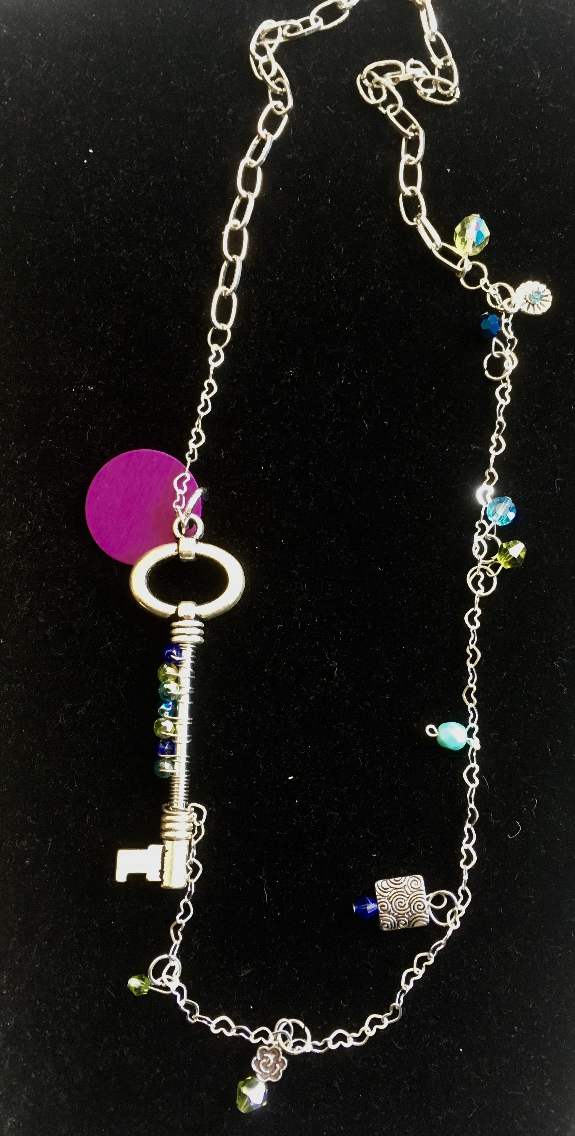 Long Silver Key Necklace with Blues and Energy Disk