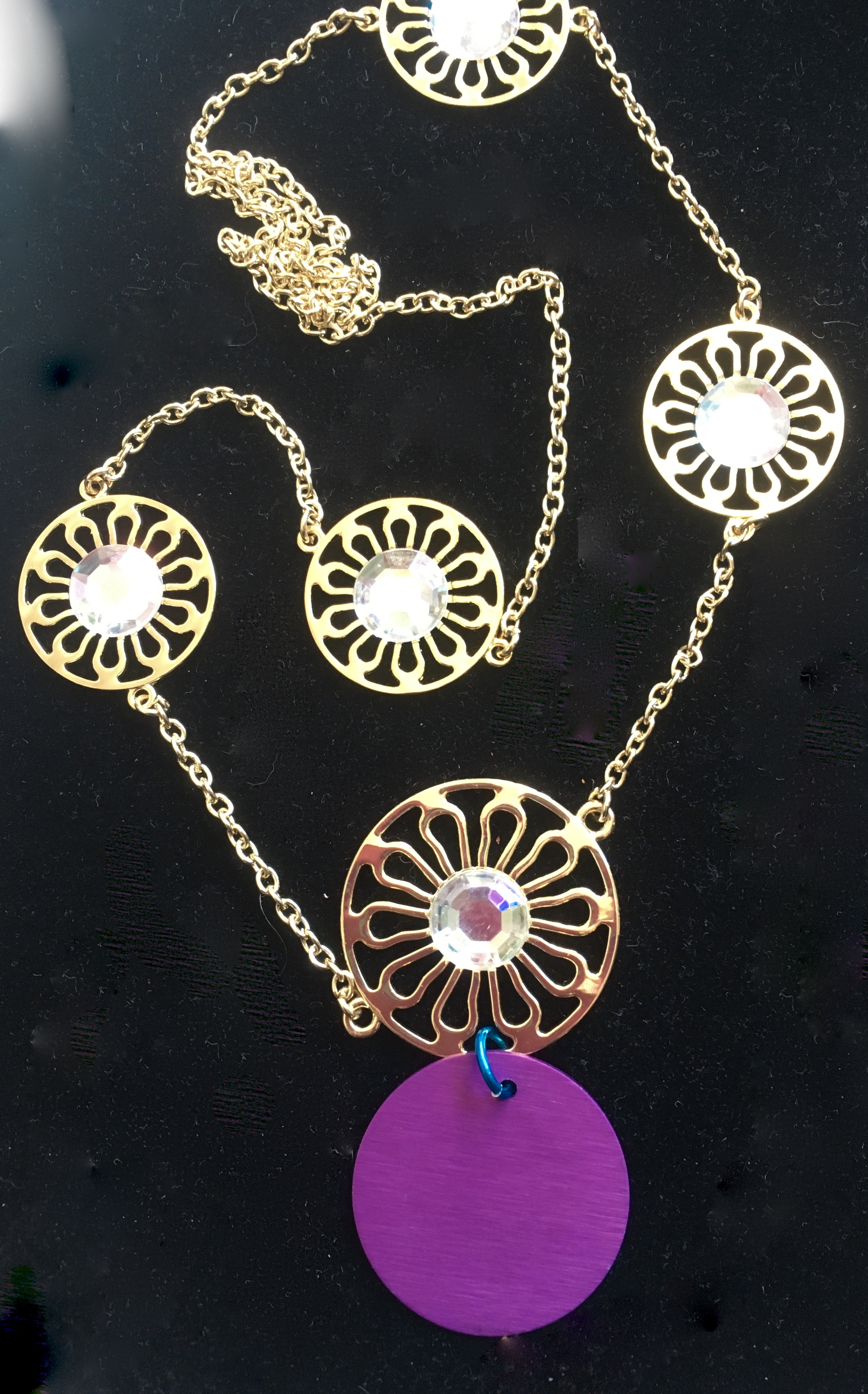 "30"" Gold Chain and Rhinestone Circles with Large Tesla Disk"
