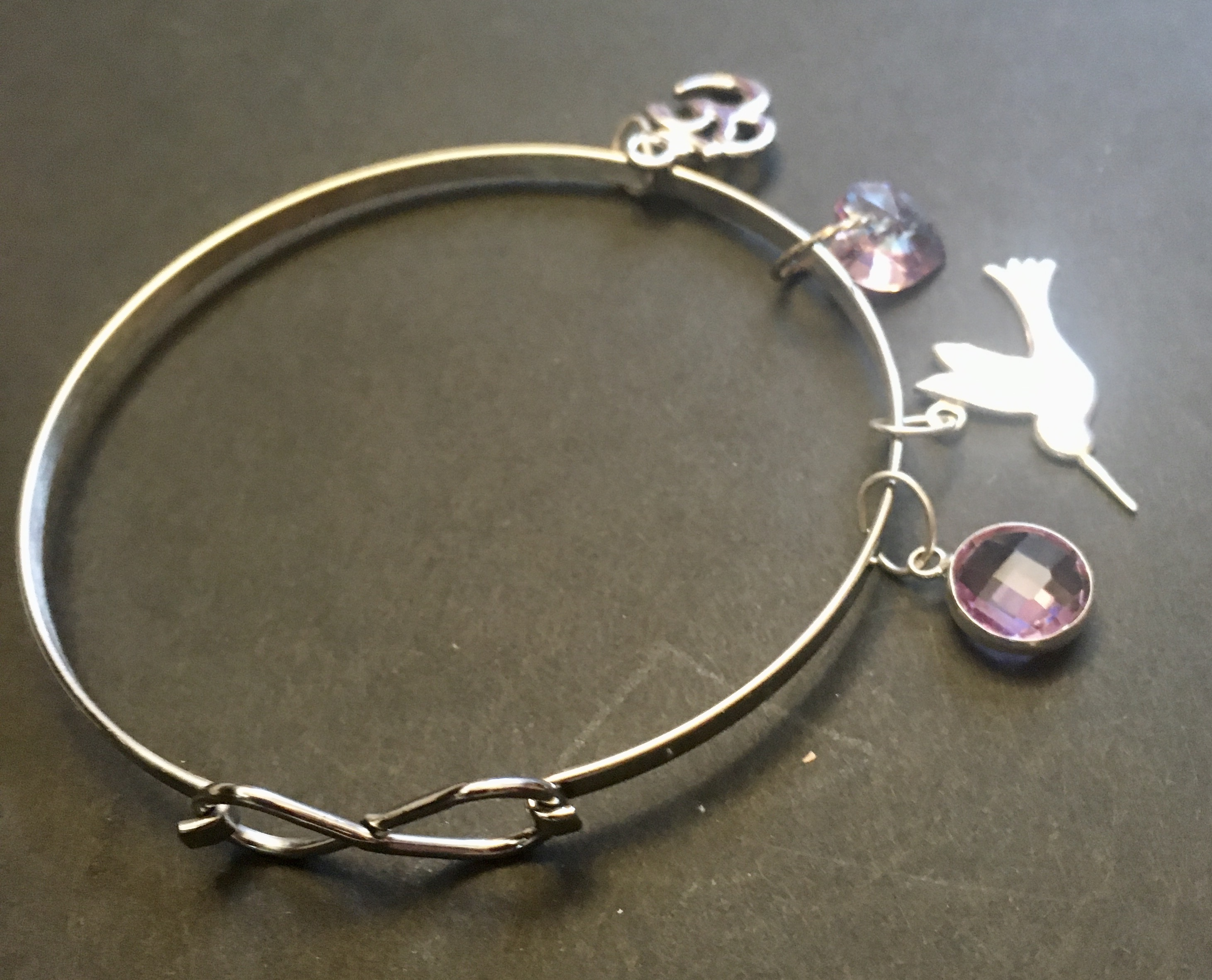 Om, Bird and purple Glass beads on flat bangle