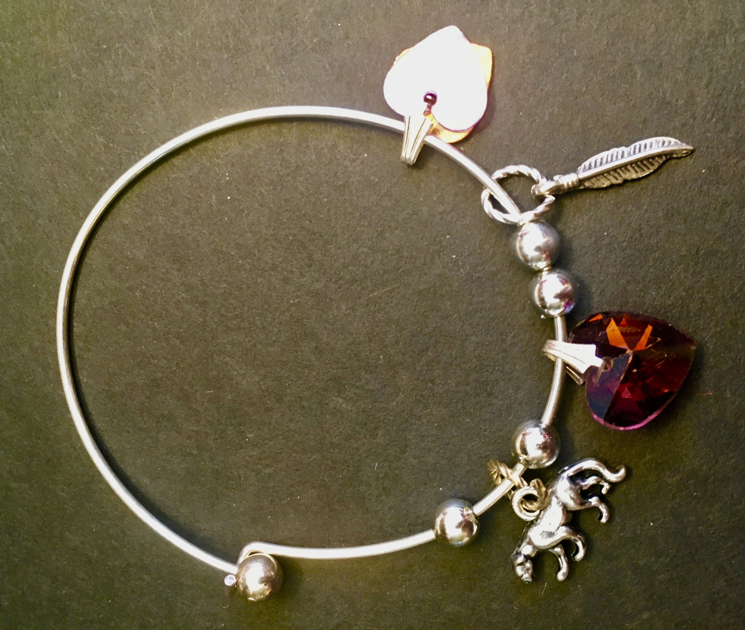 Pink Hearts and Lioness Treasure Bangle