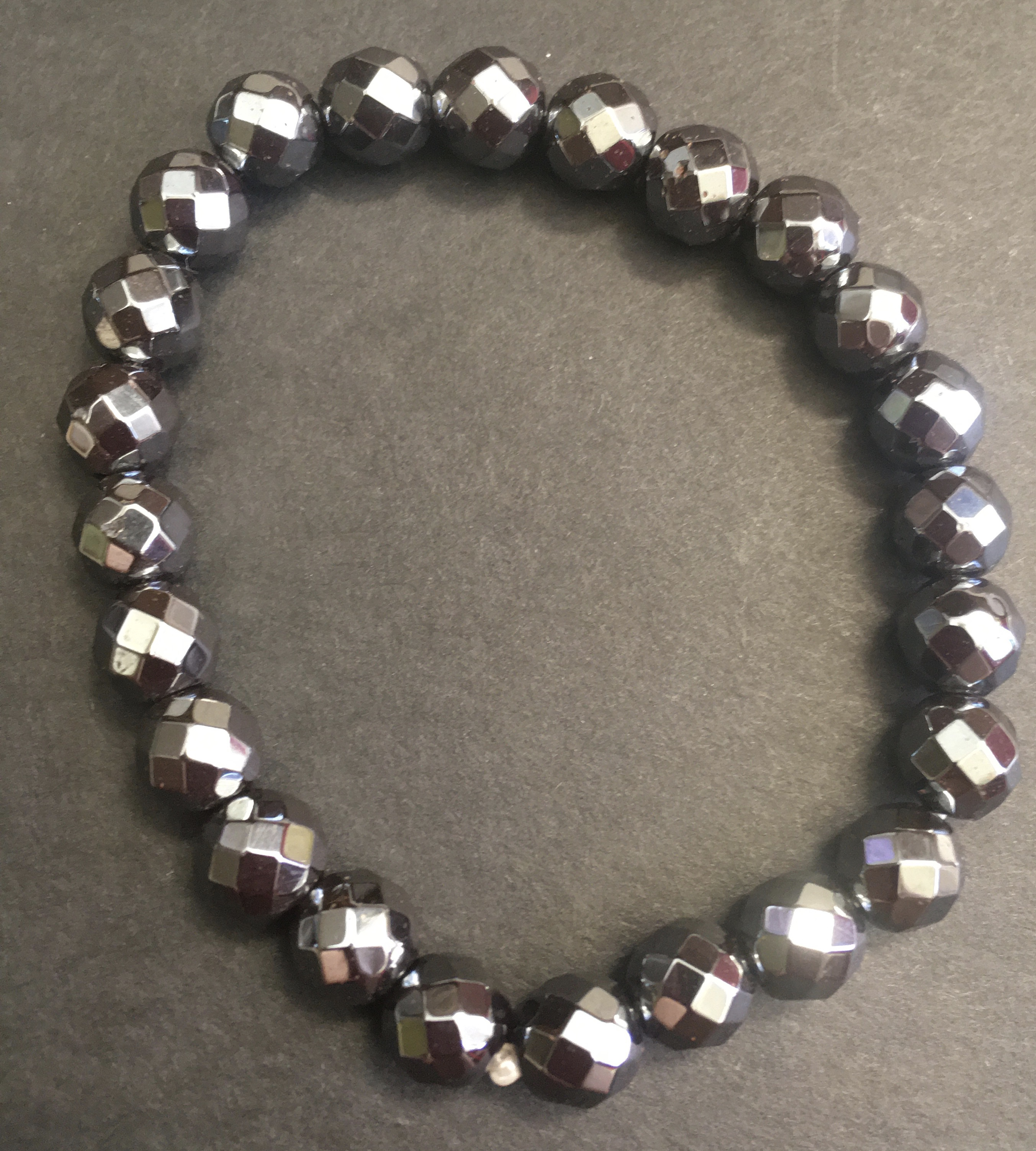 Faceted Hematite Beads Bracelet