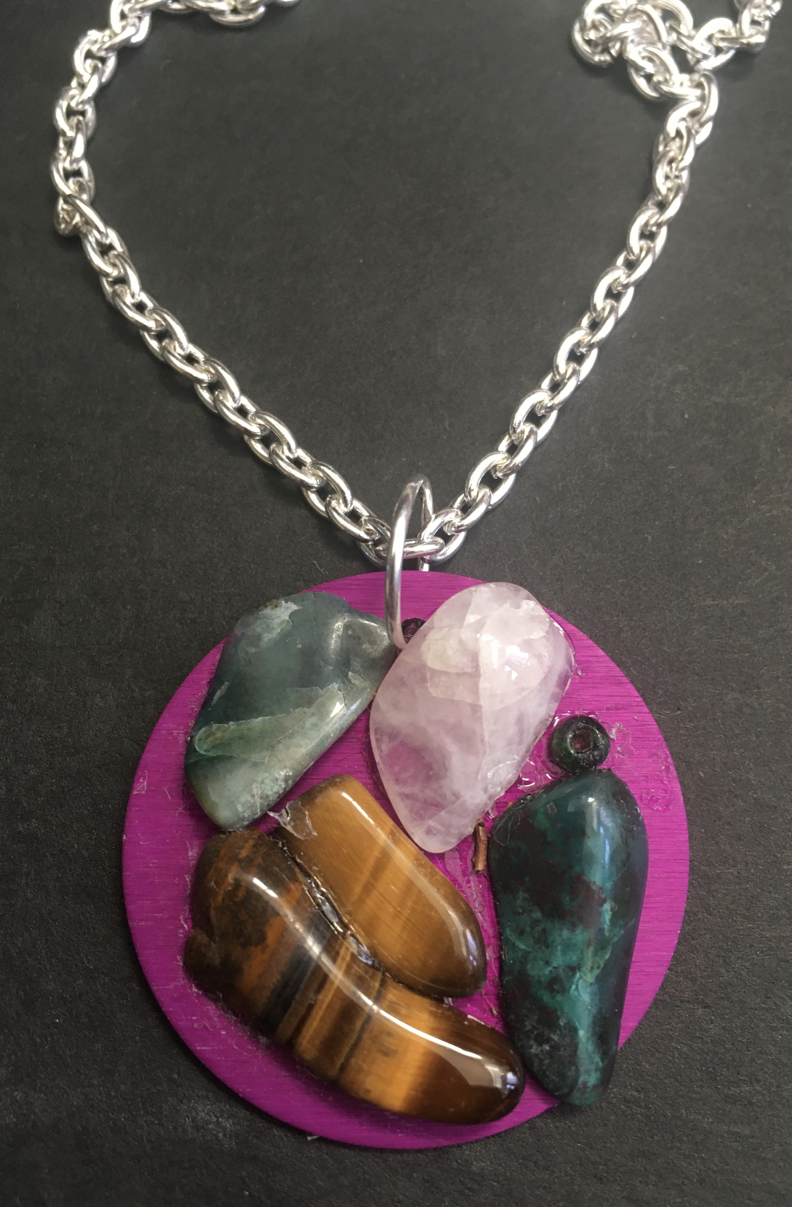 Purple Energy Disk with Semi-precious Stones