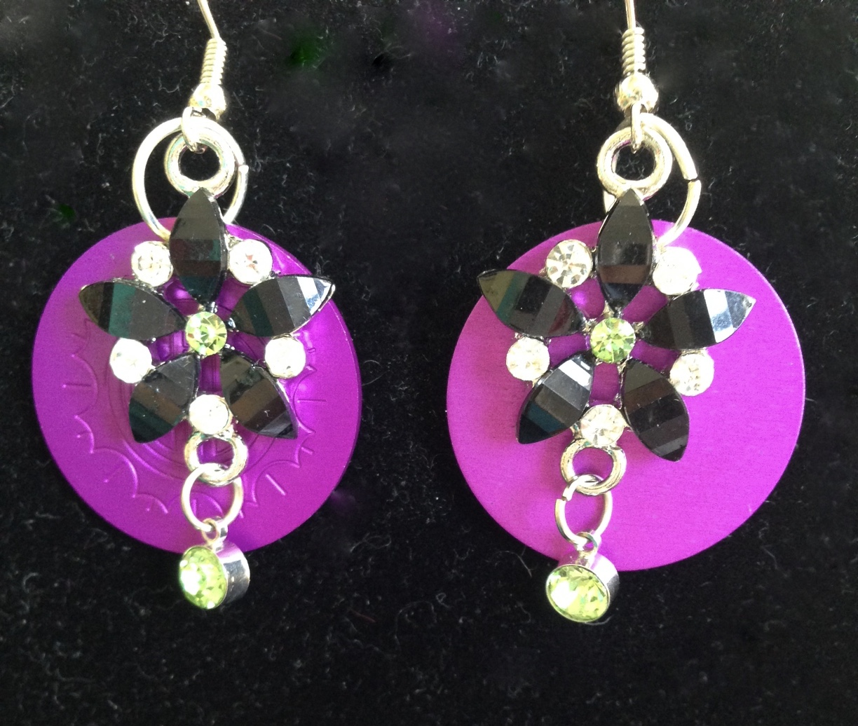 Purple, green stone flower earrings with purple disk