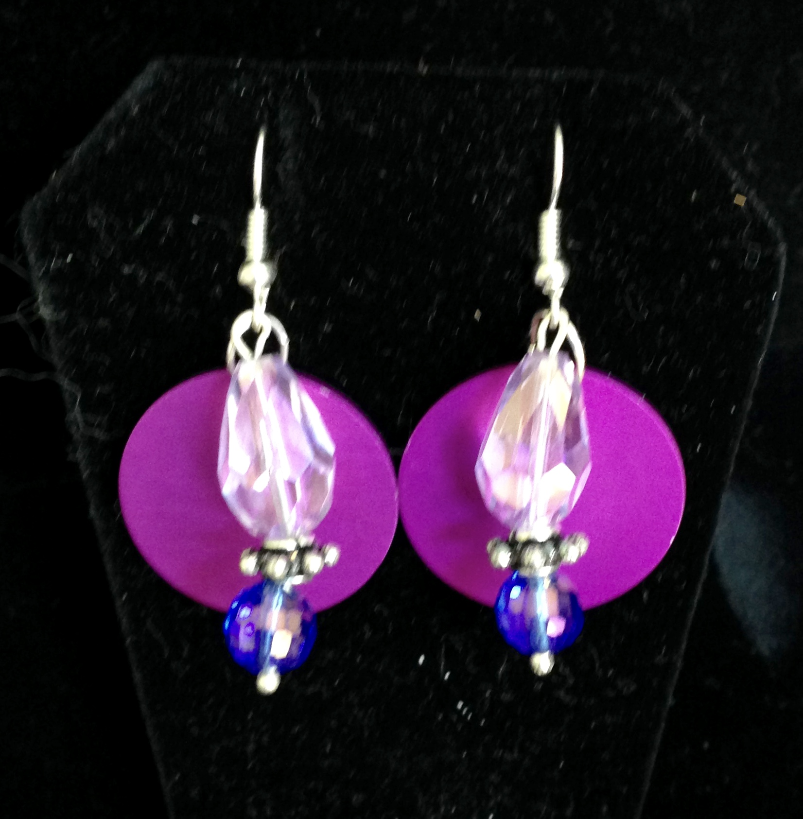 Blue & Lavender Crystal Earrings with Tesla Disks