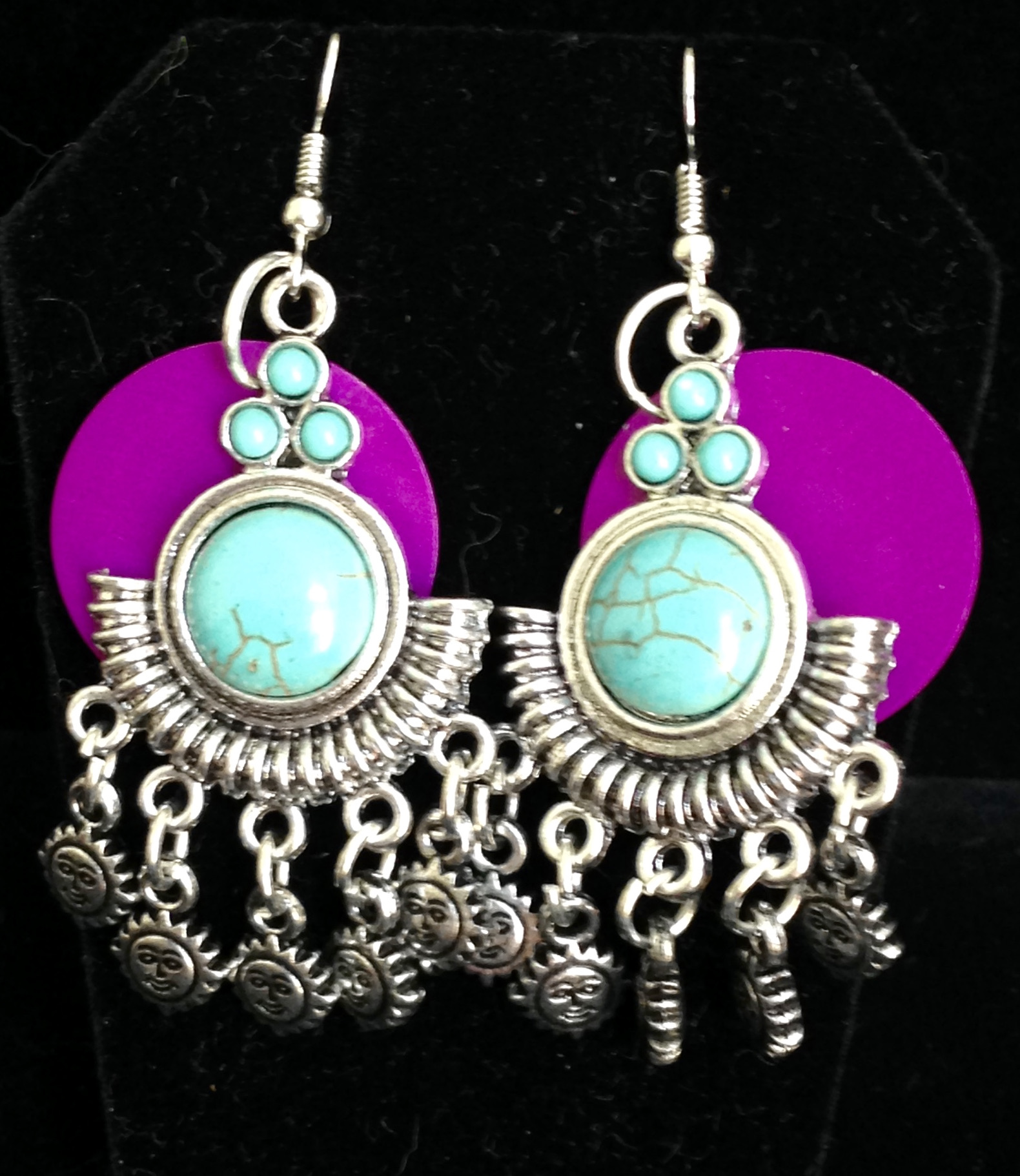Magnesite, Energy Disks, and Suns Earrings