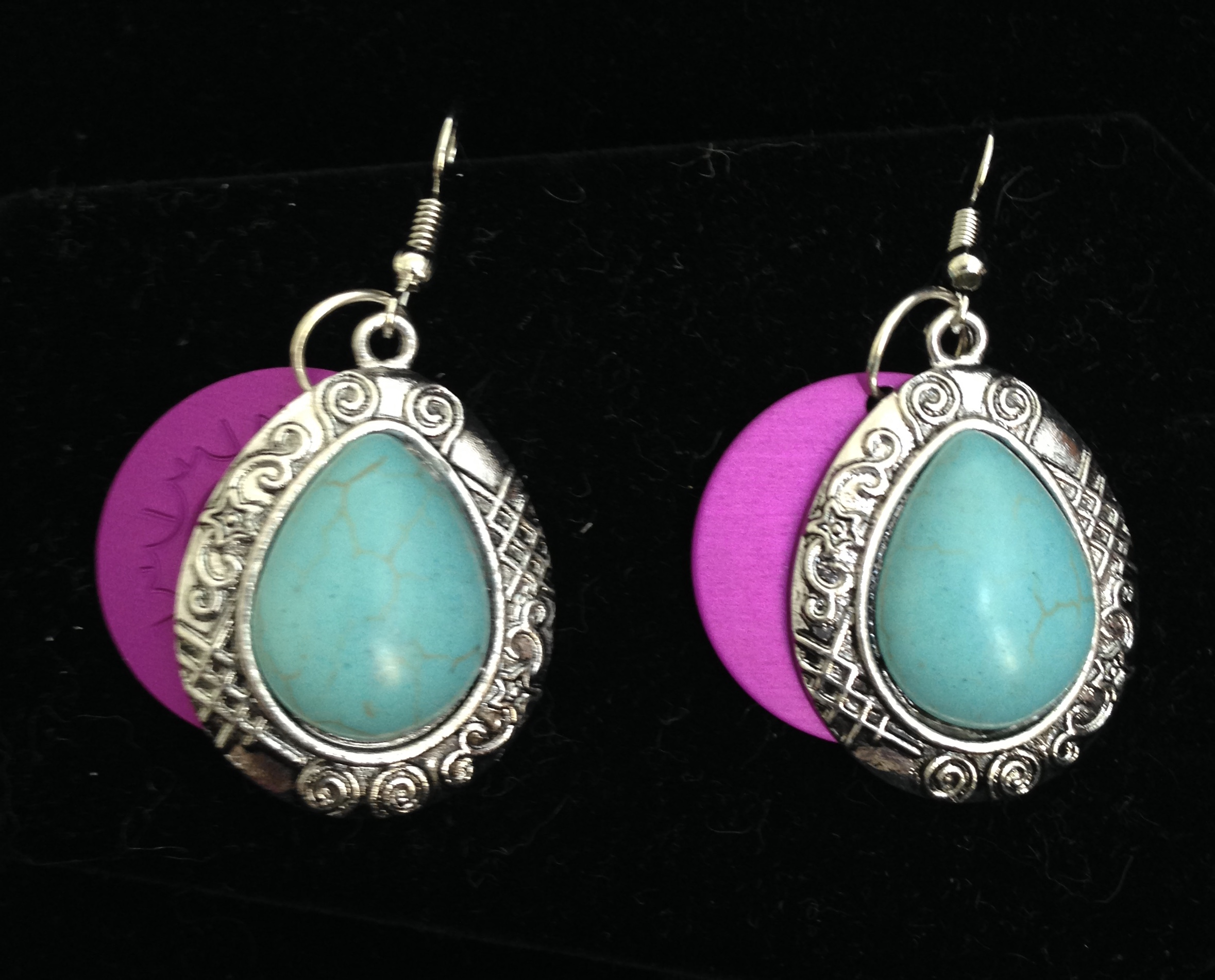 Large Magnesite Earrings with Purple Tesla Disk