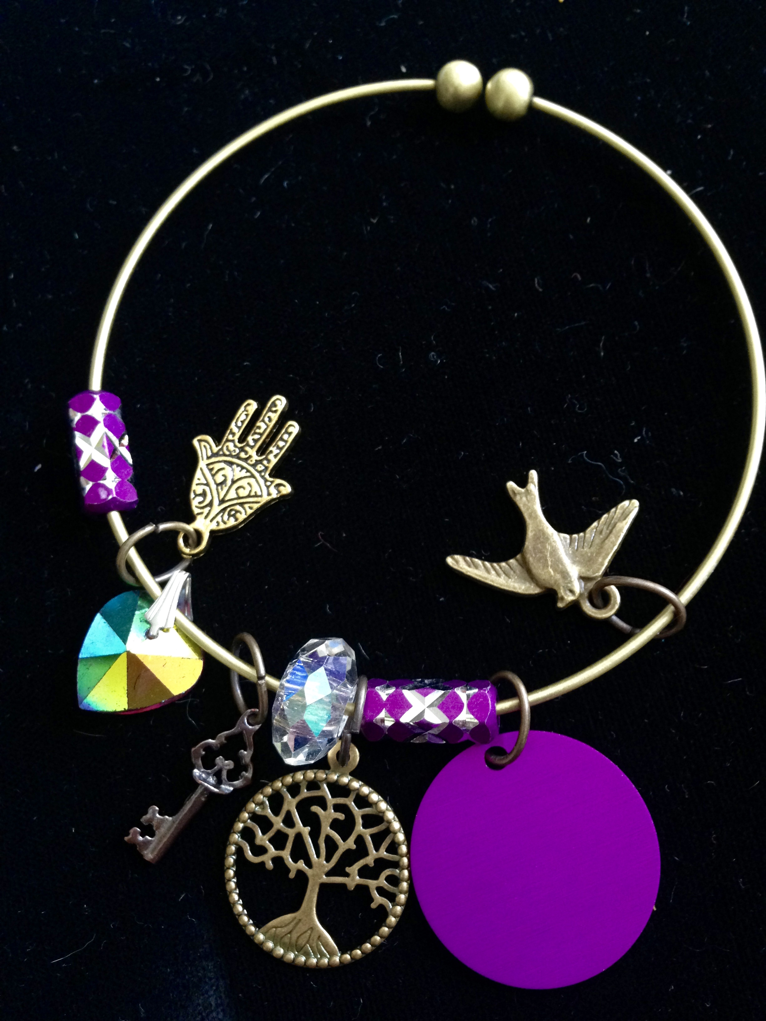 Violet Illumination Charm Bangle