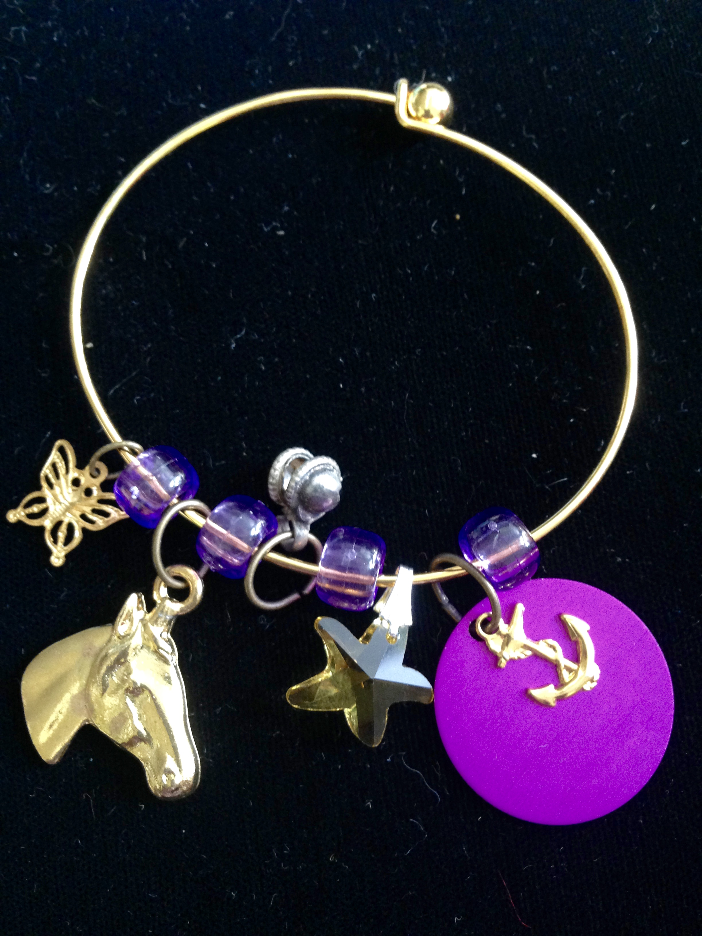 Golden Meadow Charm Bangle