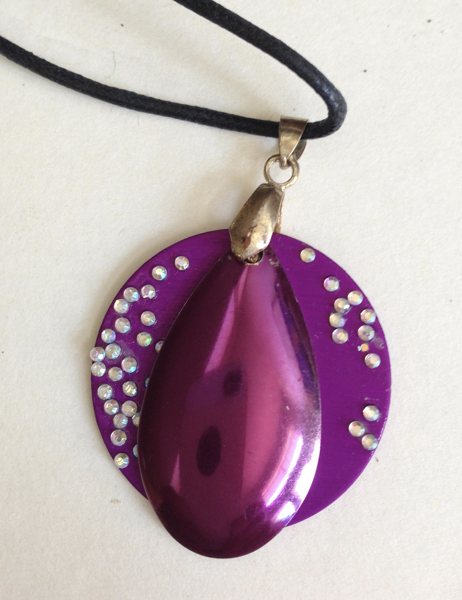 Purple on Purple Energy Necklace with Bling