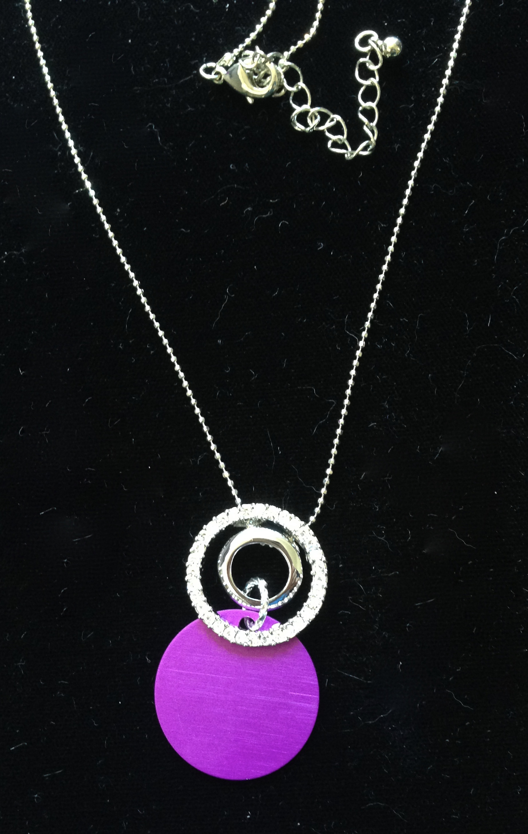 Silver Circles with Energy Disk Necklace